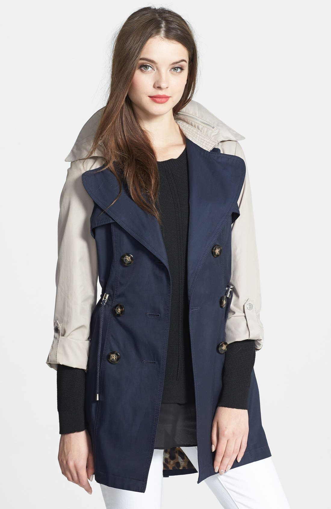 Main Image - Laundry by Shelli Segal Two-Tone Double Breasted Anorak