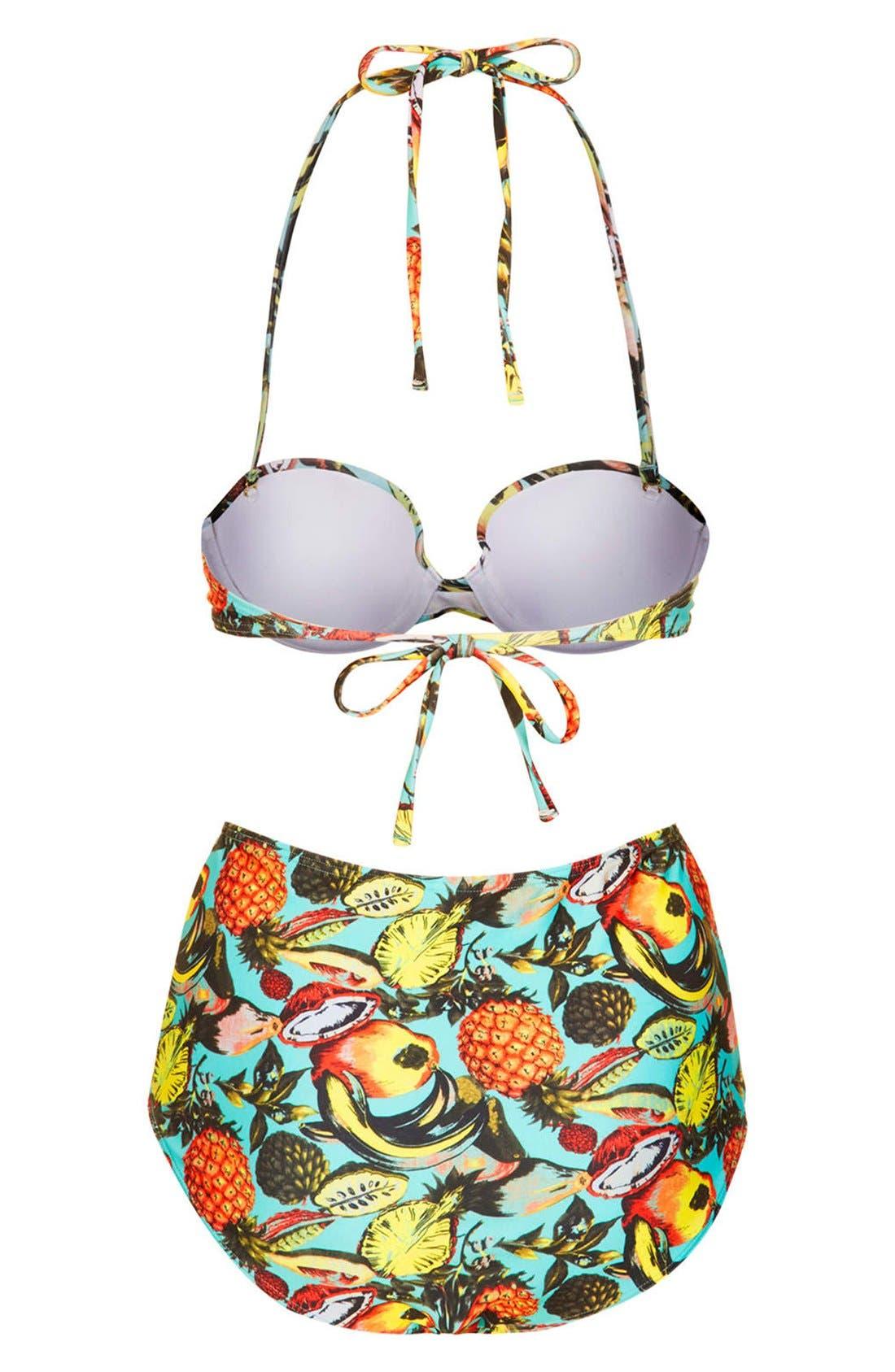Alternate Image 2  - Topshop Tropical Print High Rise Bikini