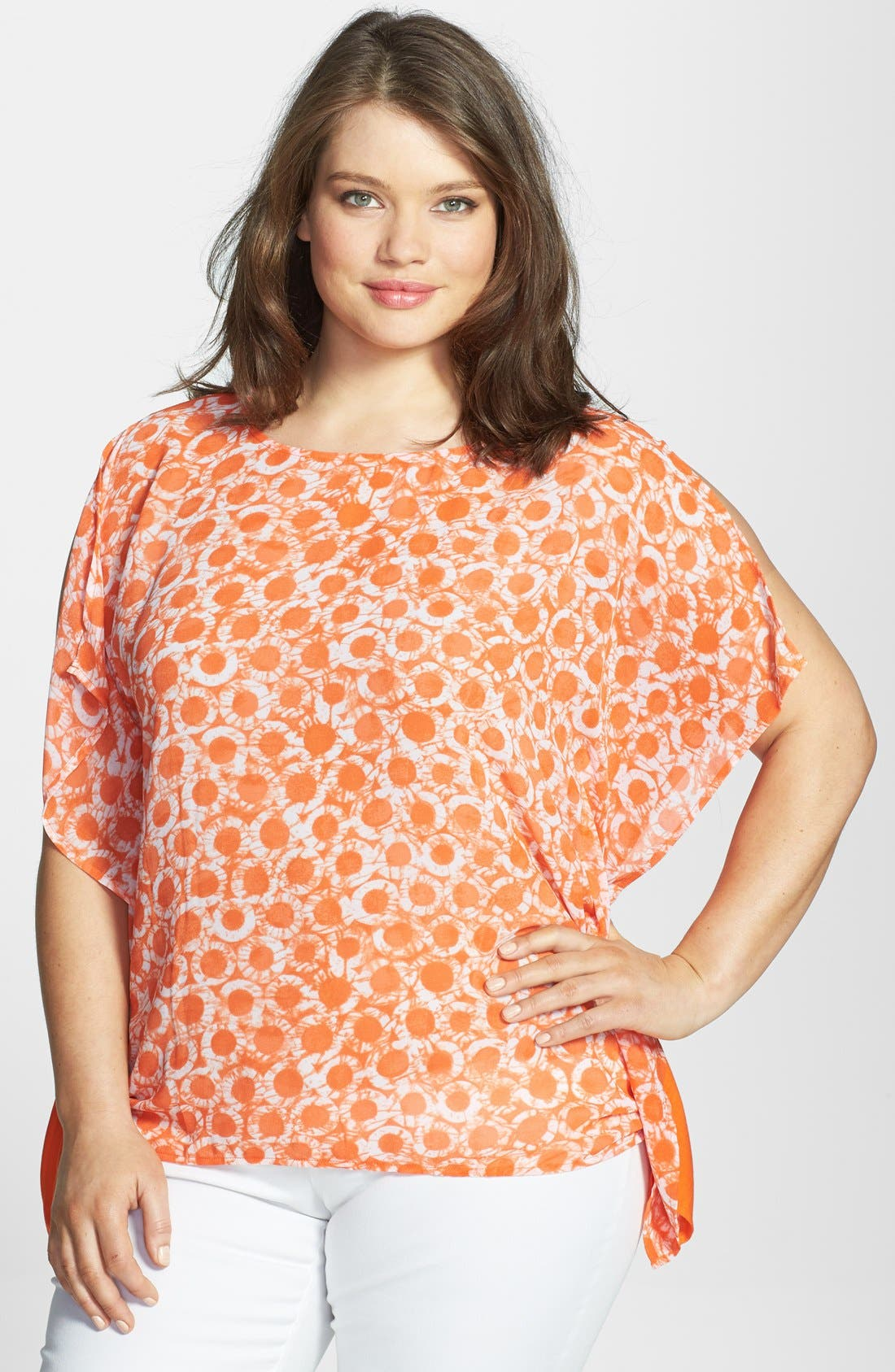 Alternate Image 1 Selected - MICHAEL Michael Kors Flutter Side Mixed Media Top (Plus Size)