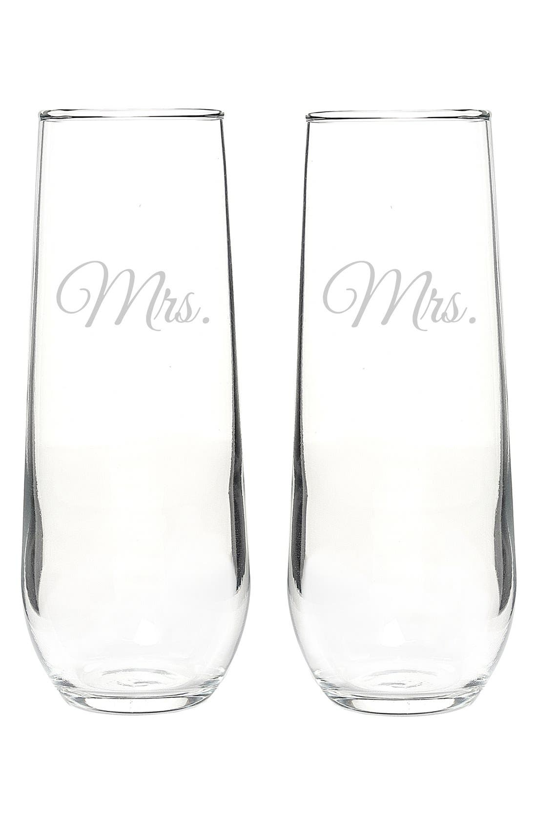 Alternate Image 2  - Cathy's Concepts 'For the Couple' Stemless Champagne Flutes (Set of 2)