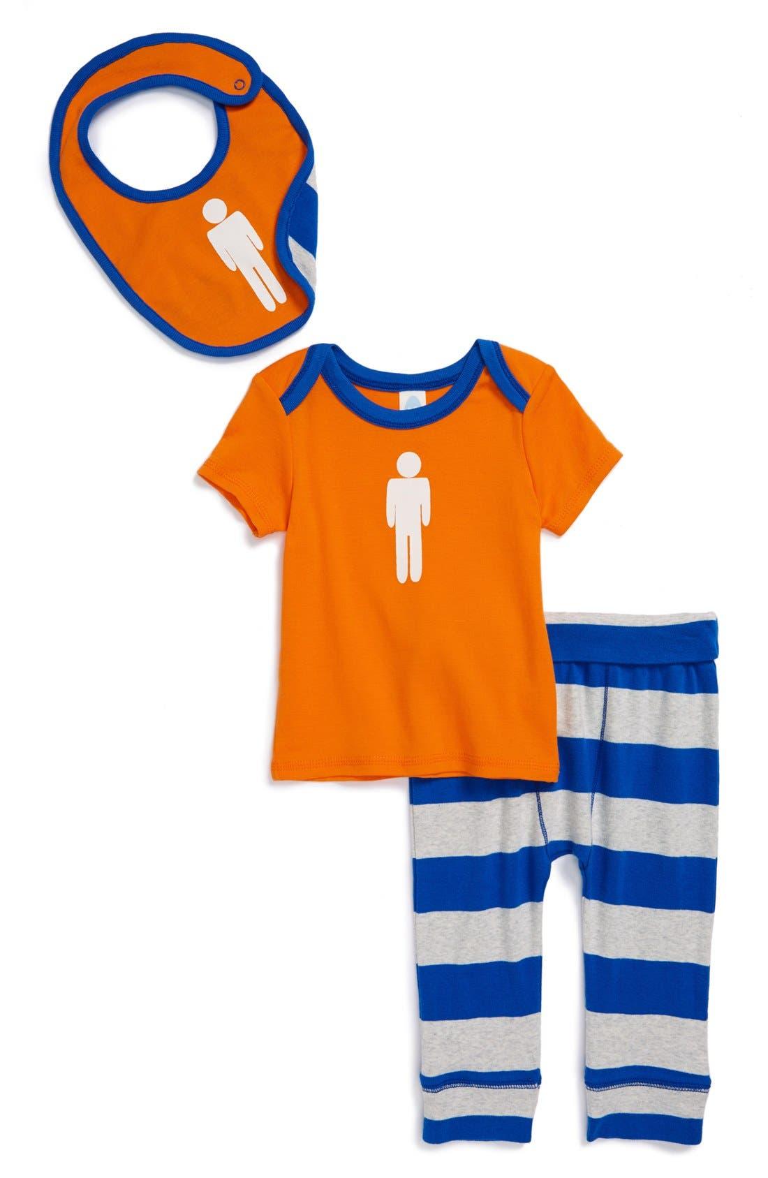 Alternate Image 1 Selected - Stem Baby Organic Cotton Tee, Pants & Bib (Baby)