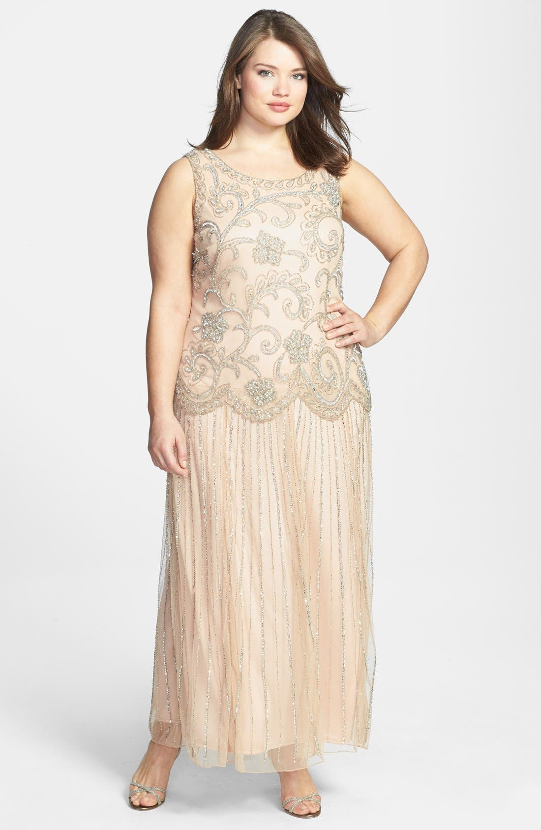 Main Image - Pisarro Nights Beaded Mesh Dress (Plus Size)