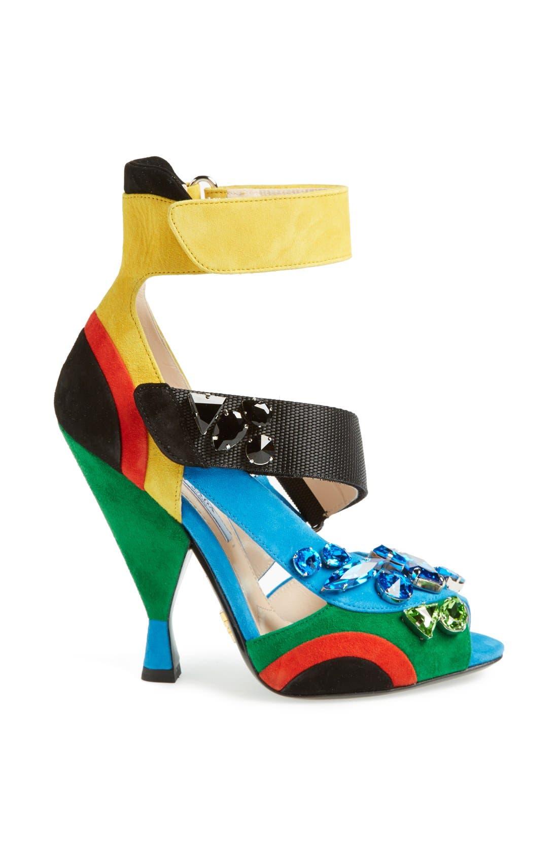 Main Image - Prada Jeweled Colorblock Sandal