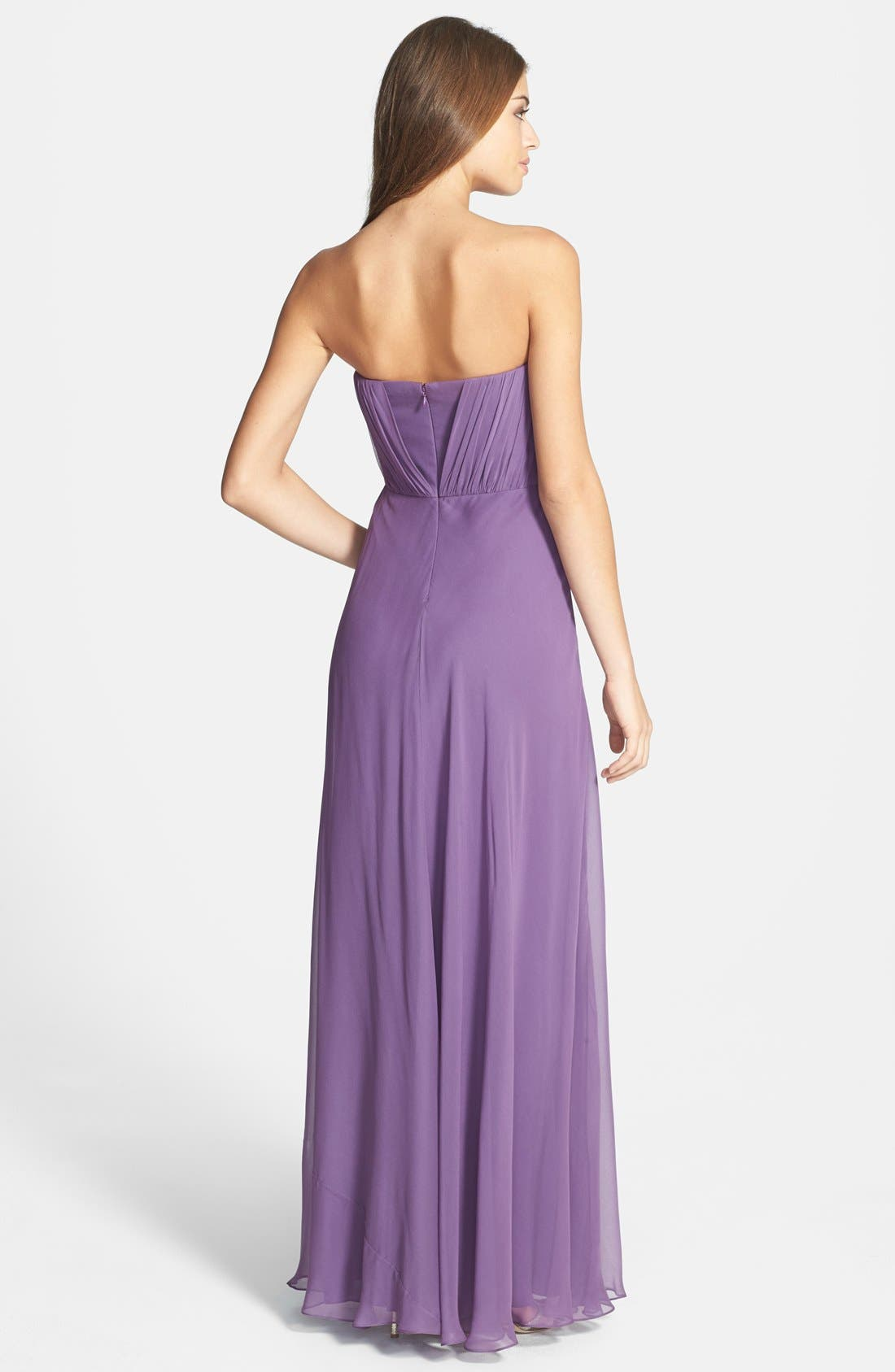 Alternate Image 2  - Vera Wang Shirred Chiffon Gown