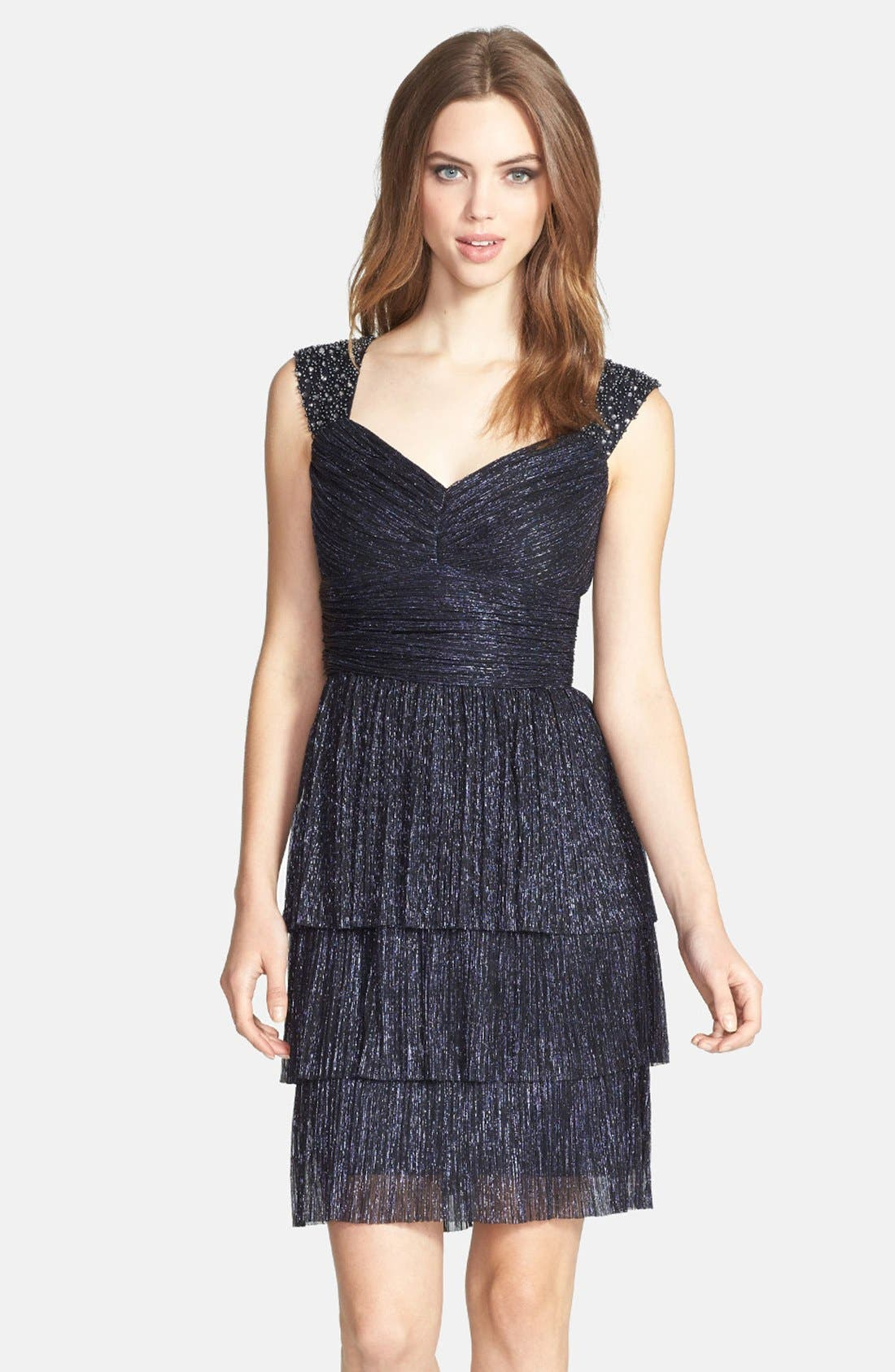 Main Image - Maggy London Metallic Embroidered Cap Sleeve Dress