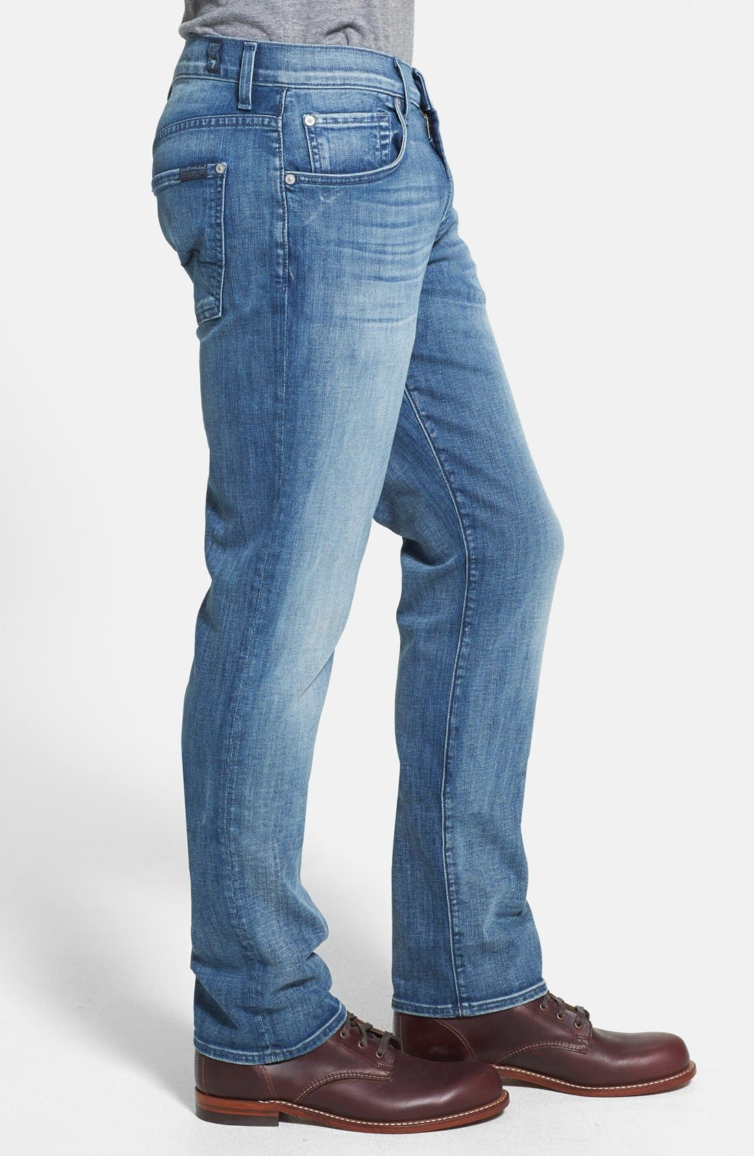 Alternate Image 3  - 7 For All Mankind® 'The Straight - Luxe Performance' Tapered Straight Leg Jeans (Capri Breeze)