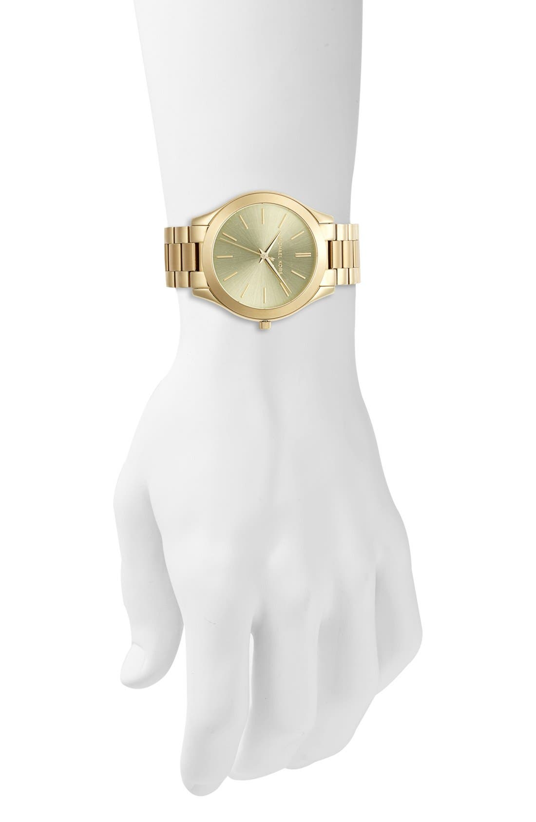 'Slim Runway' Bracelet Watch, 42mm,                             Alternate thumbnail 2, color,                             Rosegold