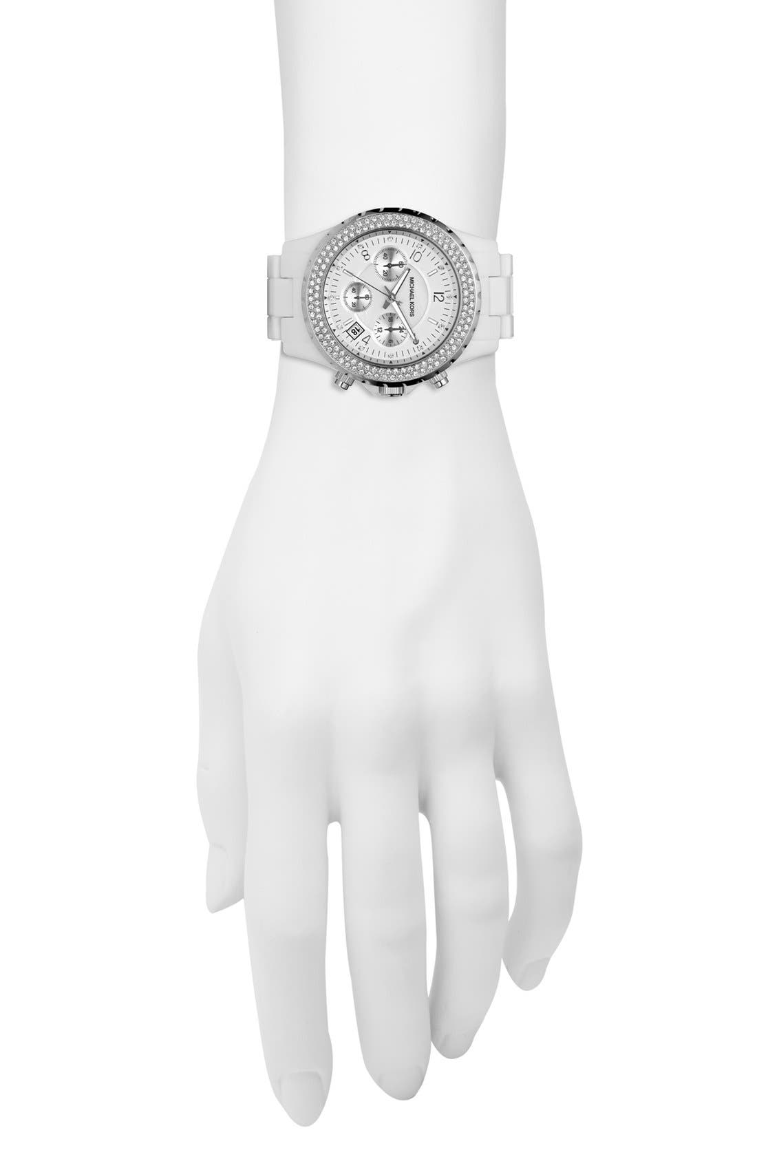 Michael Kors 'Madison' Twin Row Crystal Chronograph Watch, 42mm,                             Alternate thumbnail 5, color,                             Silver/ White
