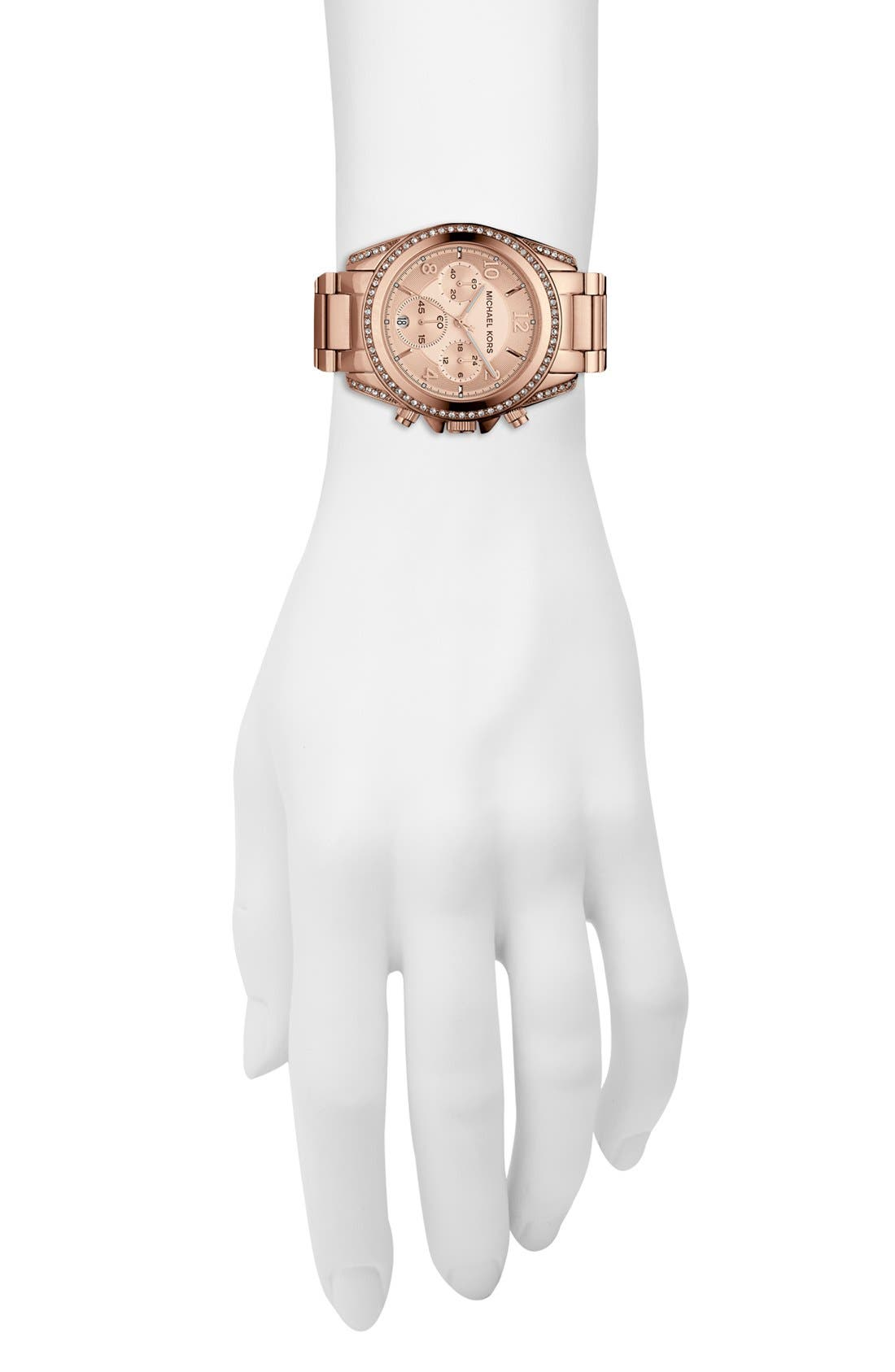 Michael Kors 'Blair' Chronograph Watch, 39mm,                             Alternate thumbnail 4, color,                             Rose Gold