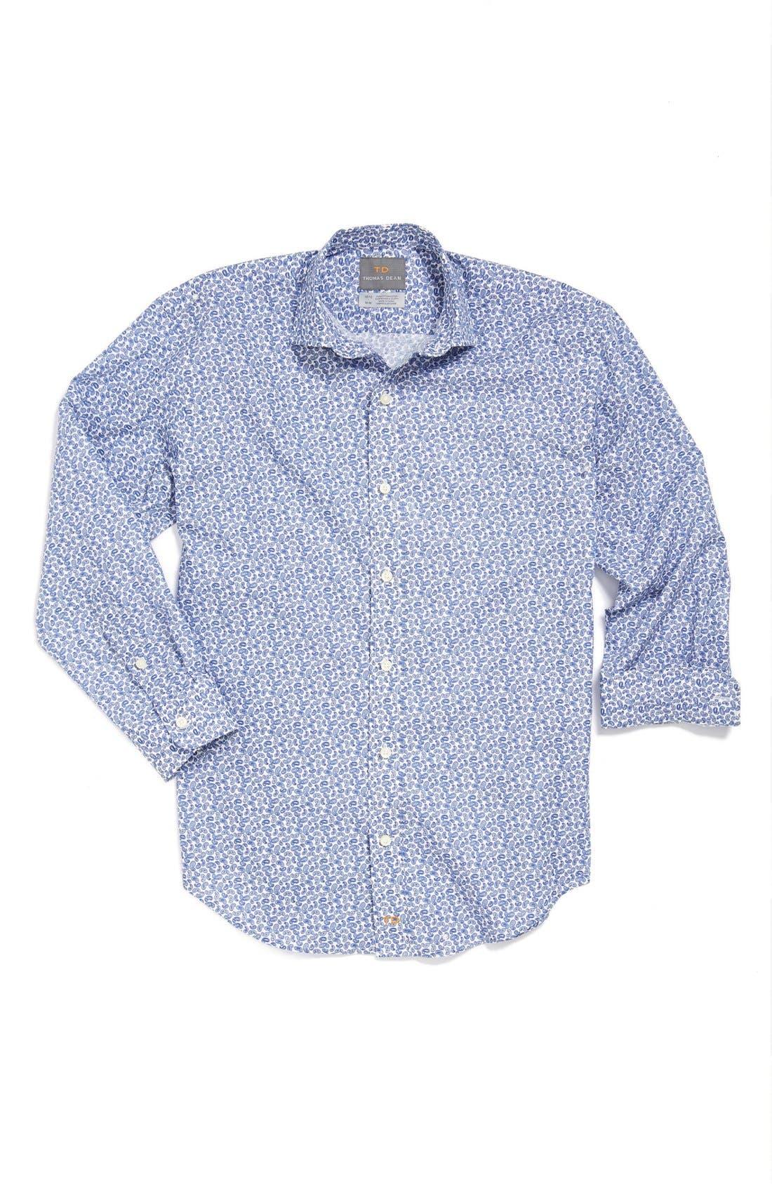 Main Image - Thomas Dean Print Poplin Dress Shirt (Big Boys)