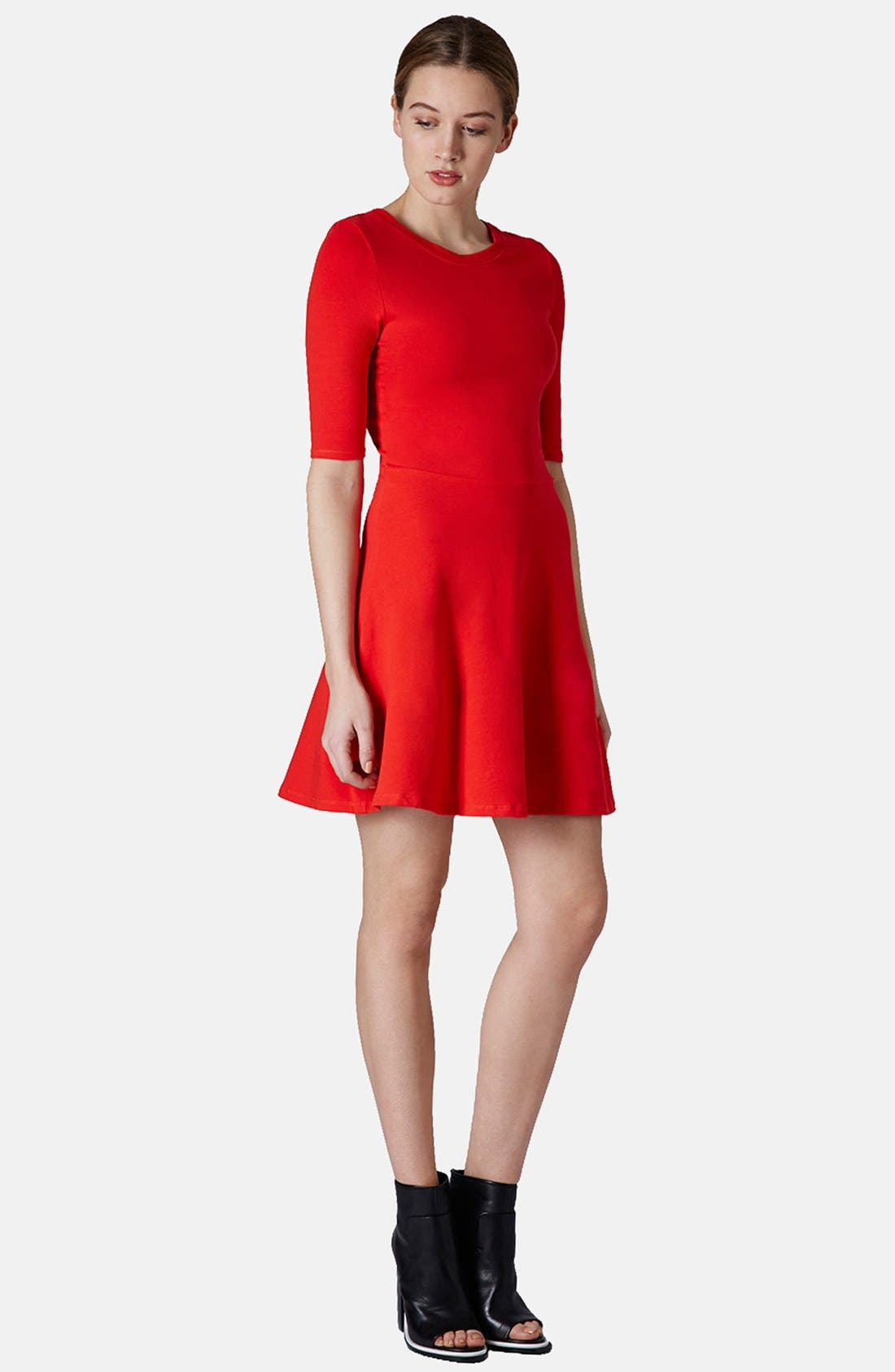 Alternate Image 5  - Topshop Elbow Sleeve Jersey Fit & Flare Dress