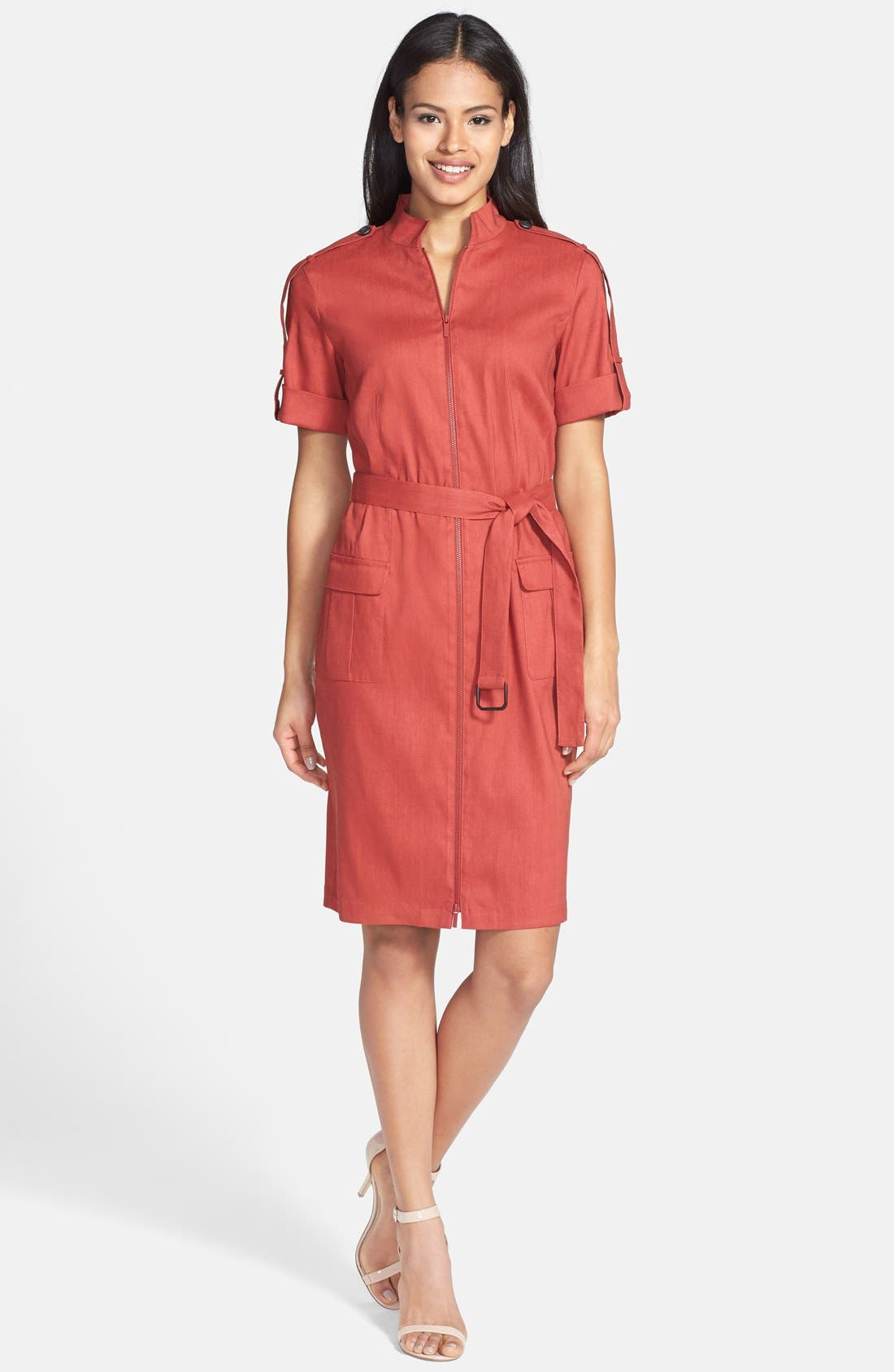 Main Image - Lafayette 148 New York Short Sleeve Zip Front Shirtdress