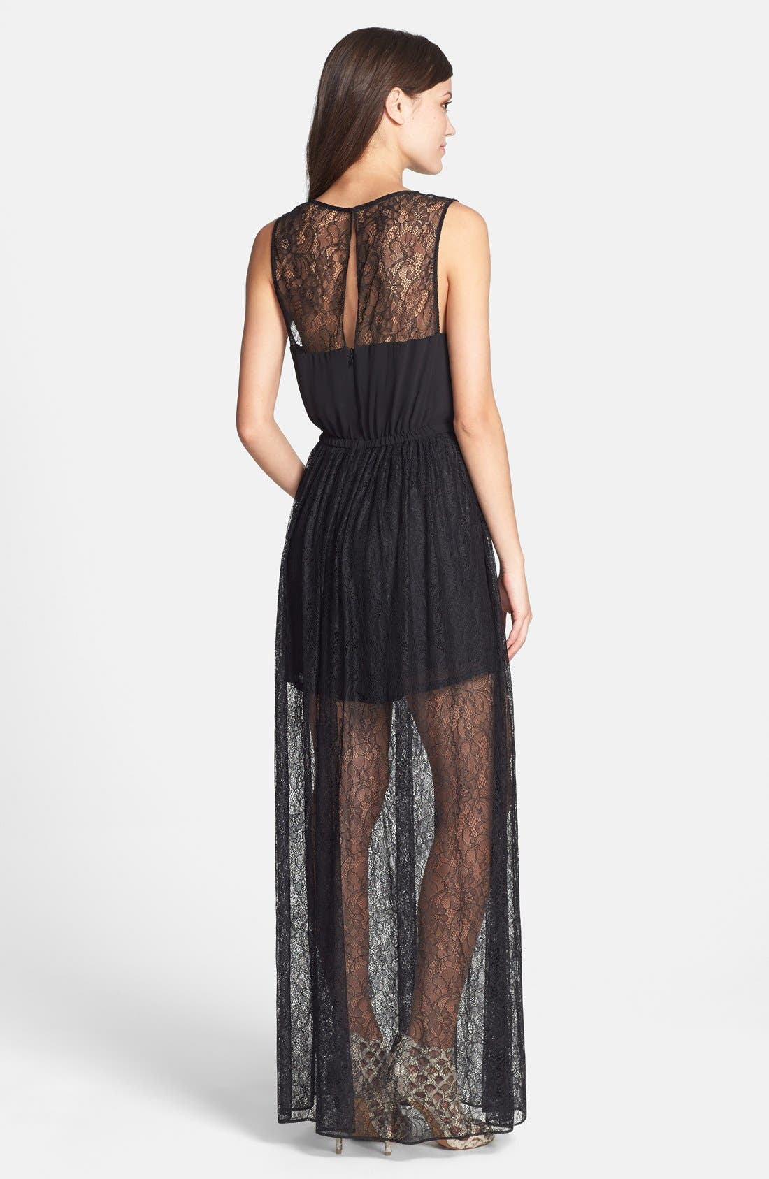 Alternate Image 2  - Hailey by Adrianna Papell Romper with Long Lace Skirt