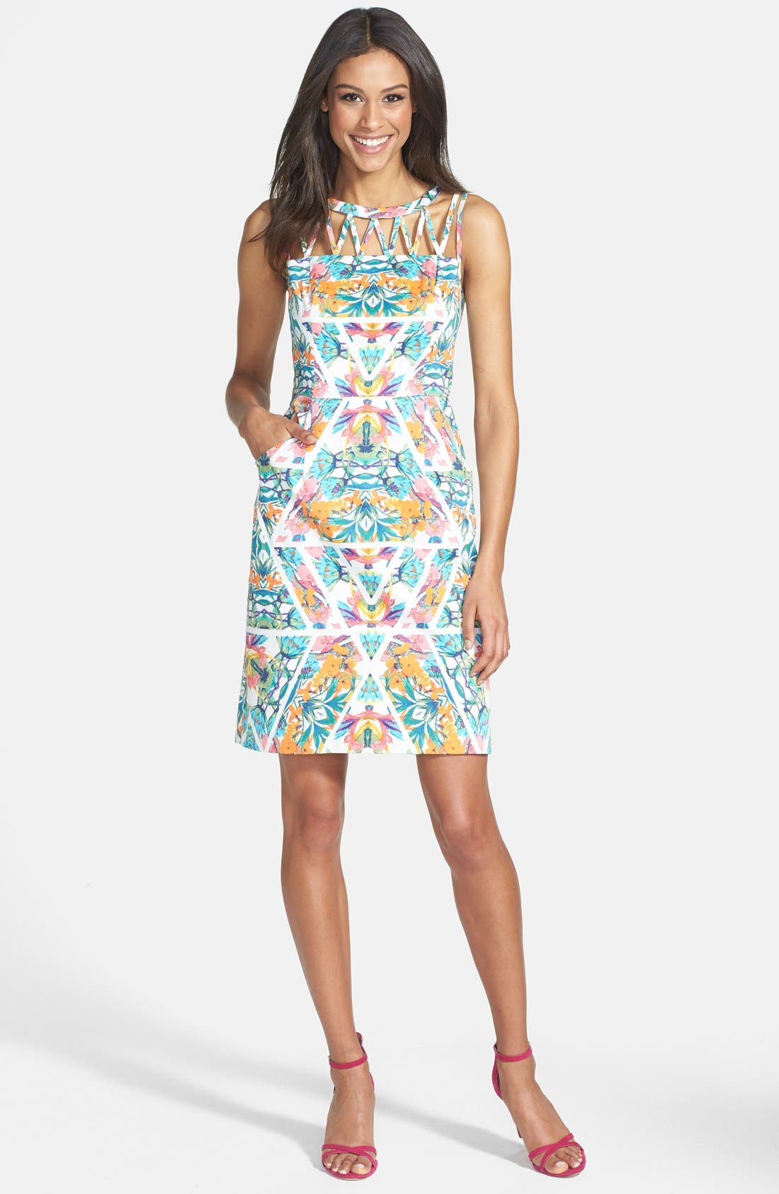 Alternate Image 3  - Adrianna Papell Caged Yoke Floral Print Sheath Dress