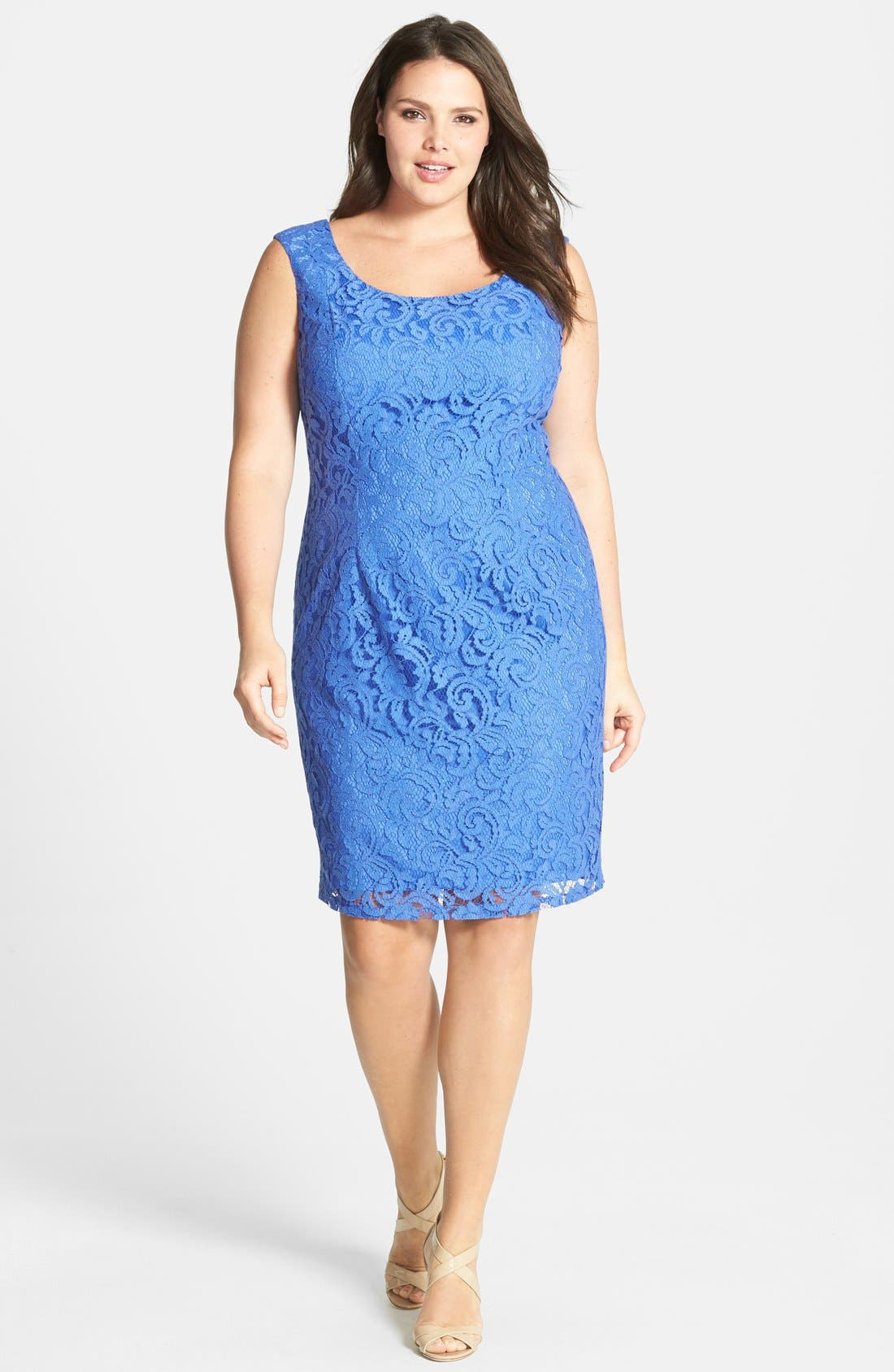 Alternate Image 1 Selected - Adrianna Papell Sleeveless Lace Sheath Dress (Plus)