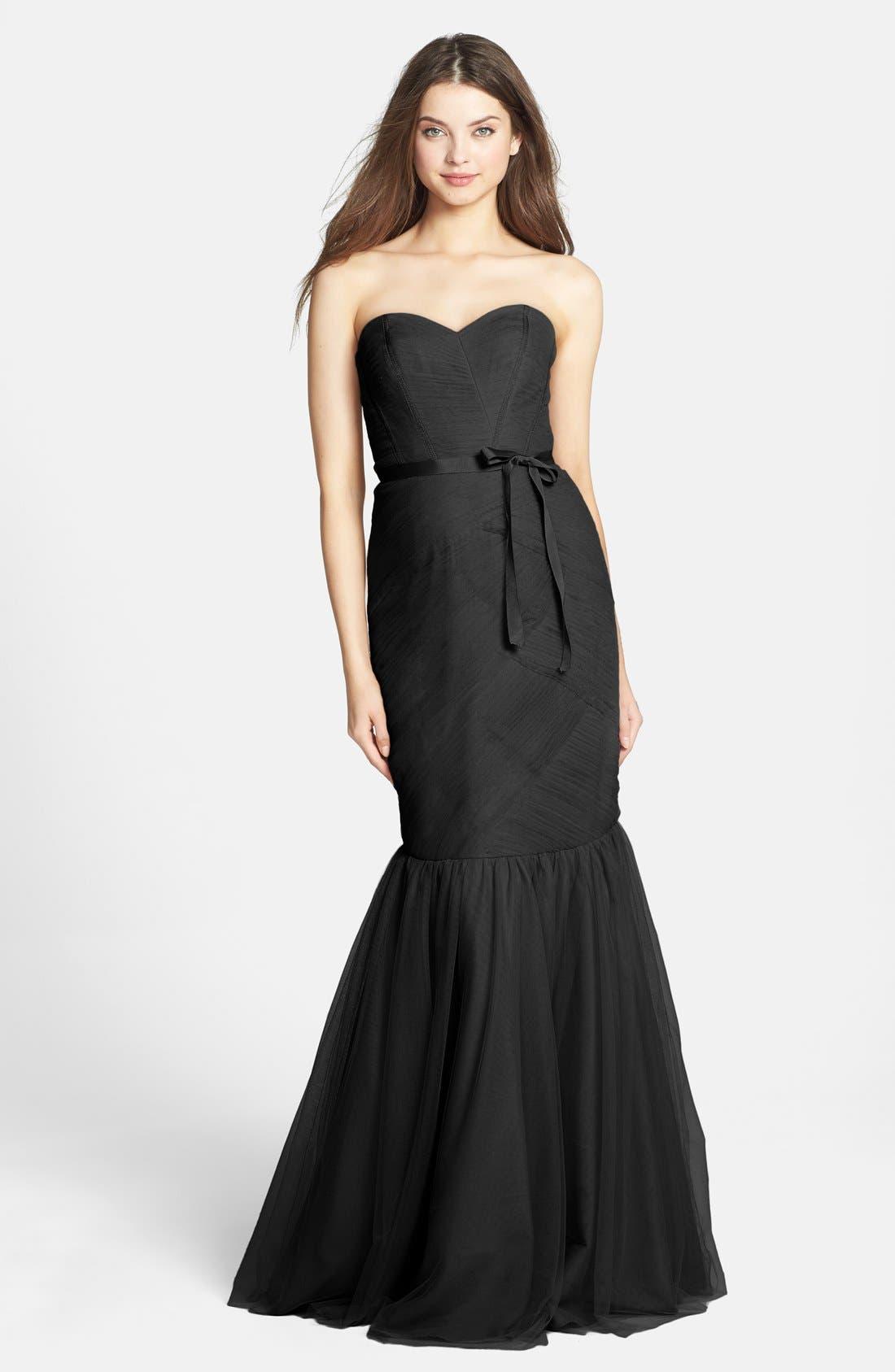 Alternate Image 1 Selected - Monique Lhuillier Bridesmaids Strapless Tulle Trumpet Dress