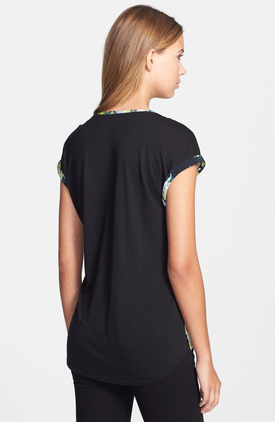 Alternate Image 2  - Adrianna Papell Floral Print Front Tee