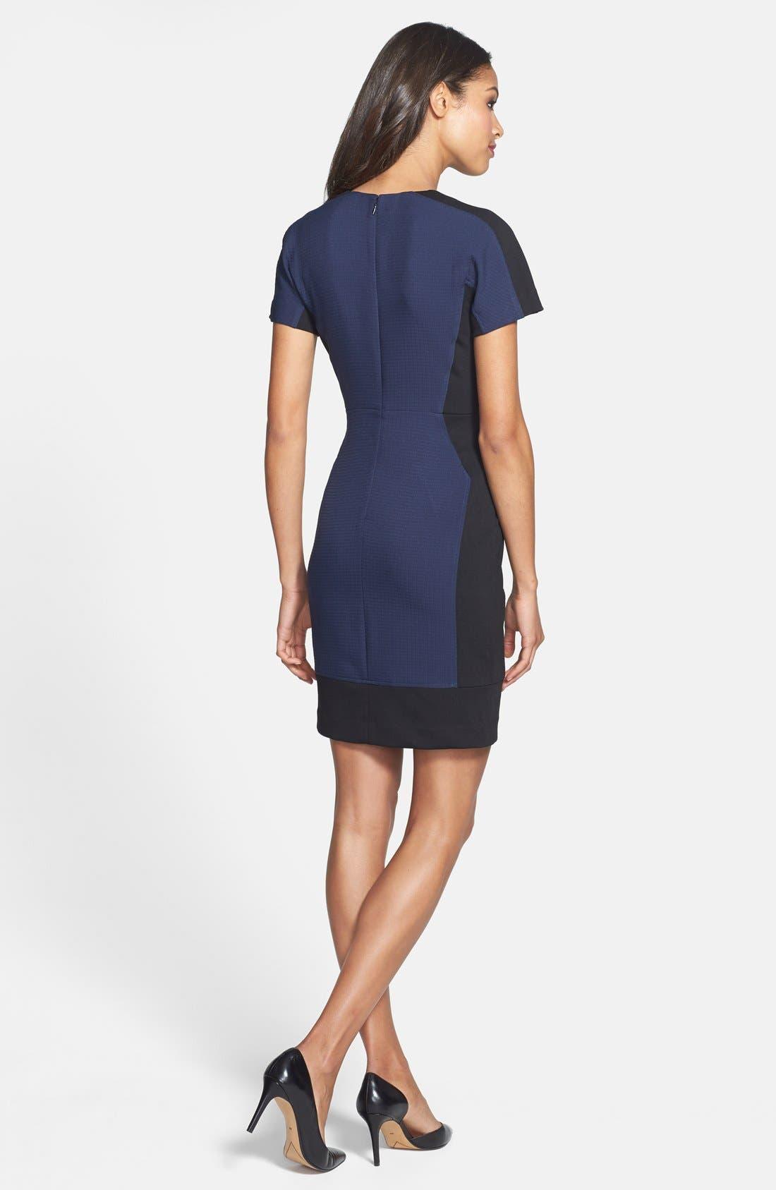 Alternate Image 2  - Halogen® Colorblock Mixed Media Sheath Dress (Regular & Petite)
