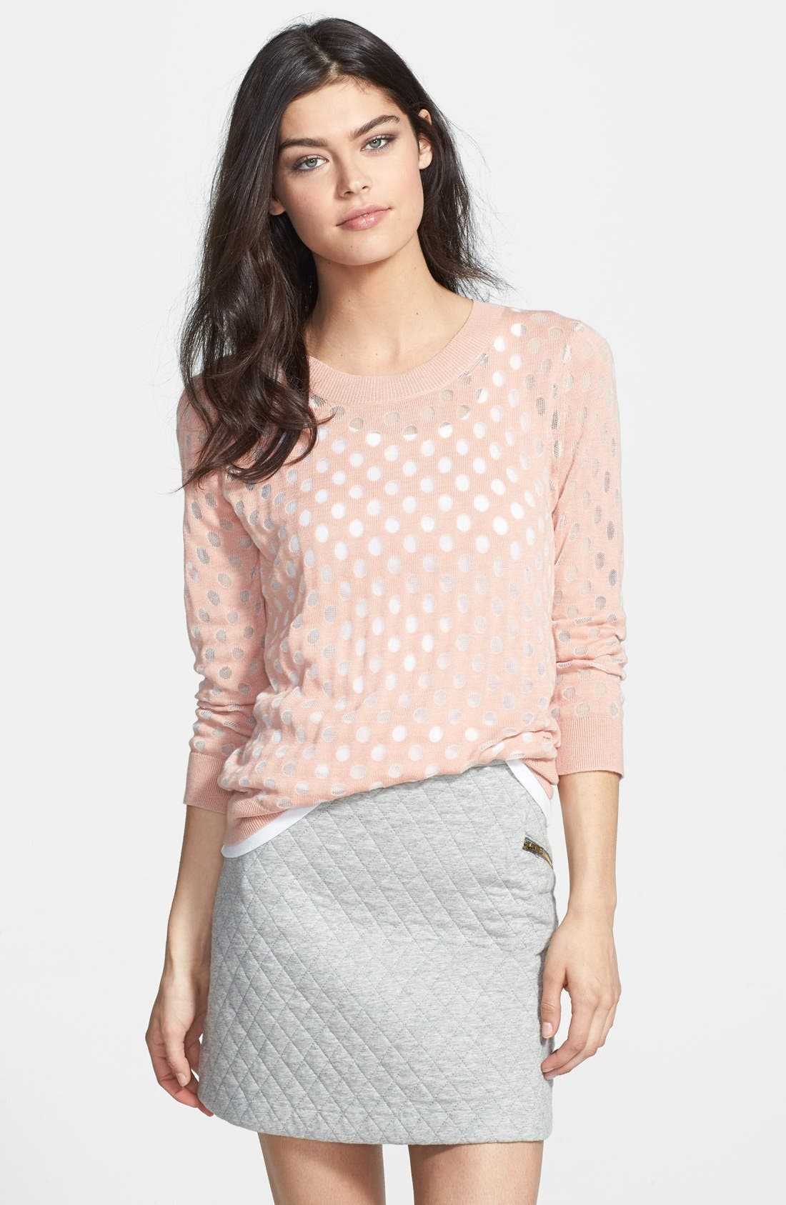 Burnout Dot Sweater,                             Main thumbnail 1, color,                             Pink Salmon