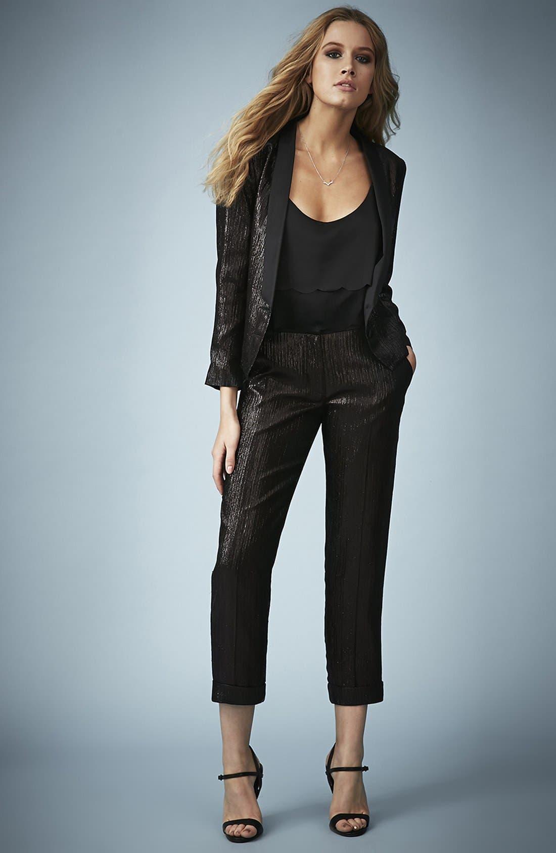 Alternate Image 5  - Kate Moss for Topshop Lamé Tuxedo Pants
