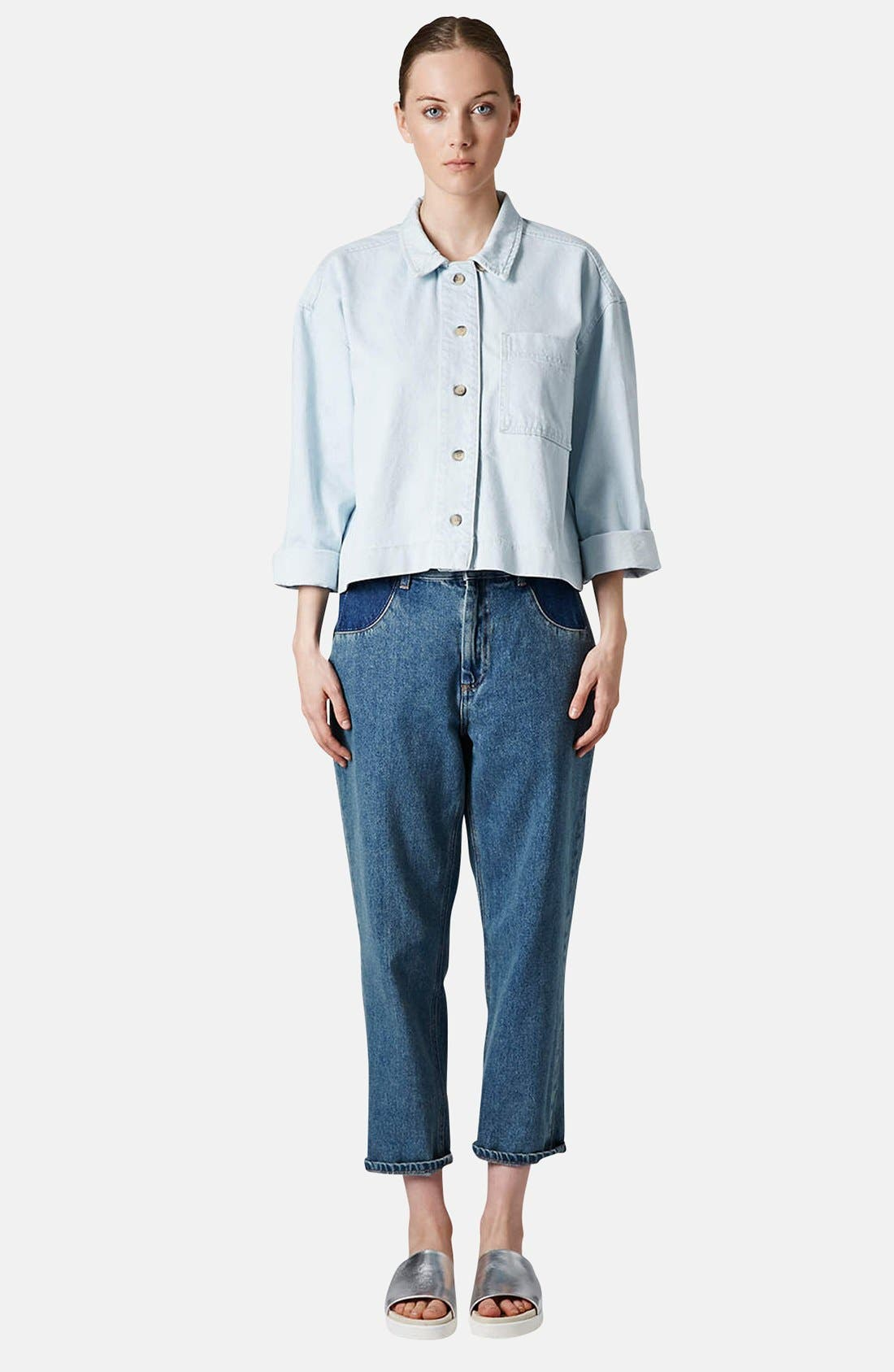 Alternate Image 5  - Topshop Boutique Crop Denim Shirt