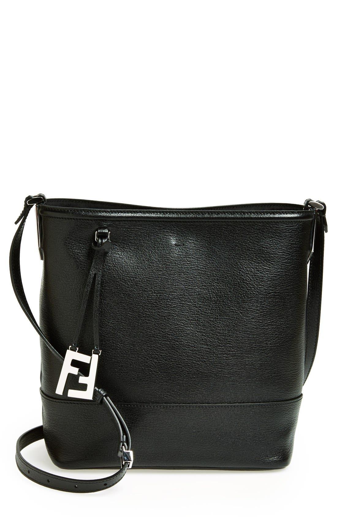 Leather Bucket Crossbody Bag,                             Main thumbnail 1, color,                             Black/ Palladium