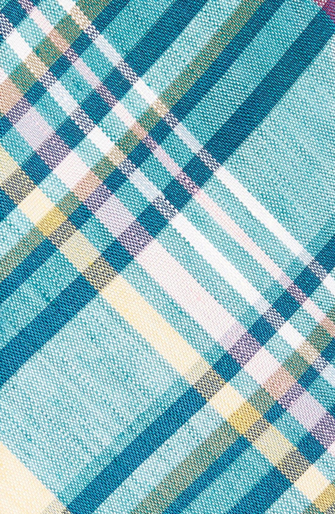 Woven Linen & Silk Tie,                             Alternate thumbnail 2, color,                             Aqua