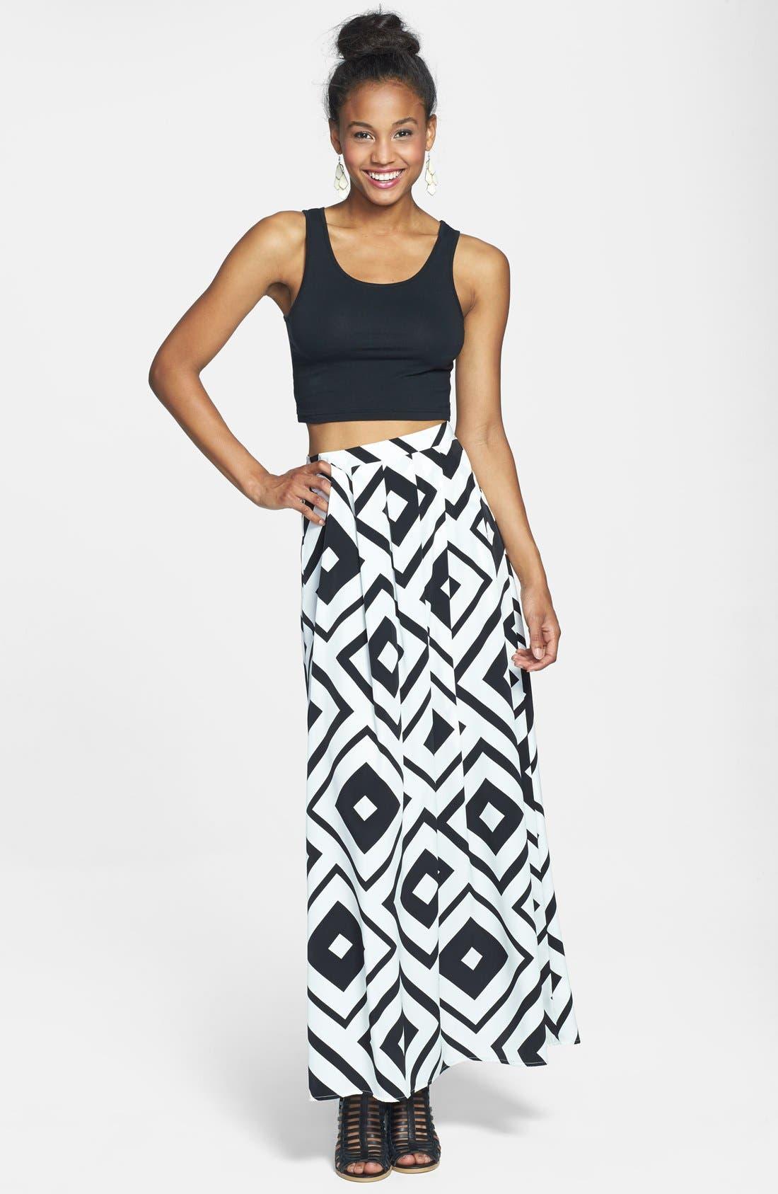 Main Image - Painted Threads Pleat Maxi Skirt (Juniors)