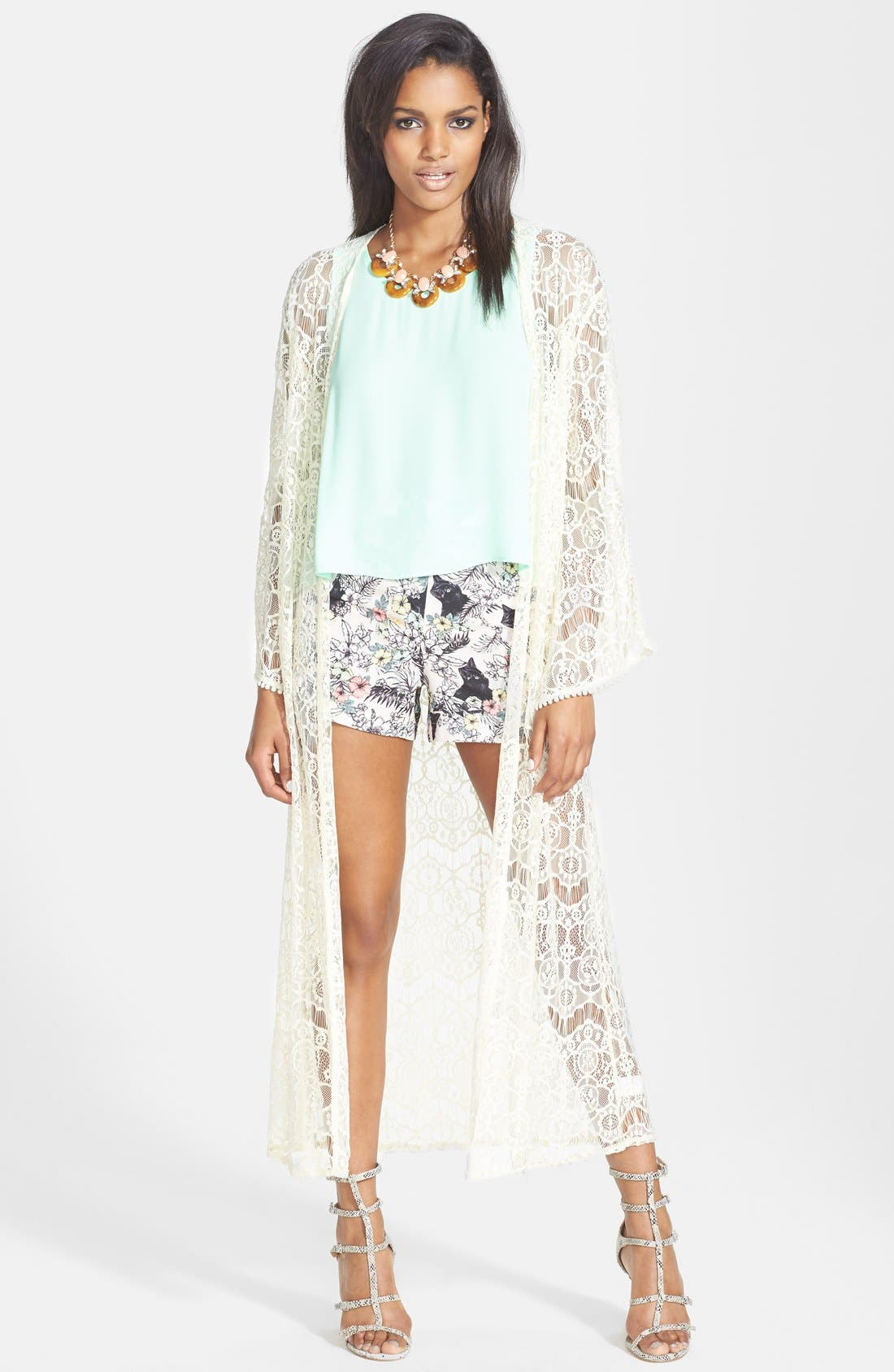 Alternate Image 1 Selected - ASTR Lace Kimono Cardigan