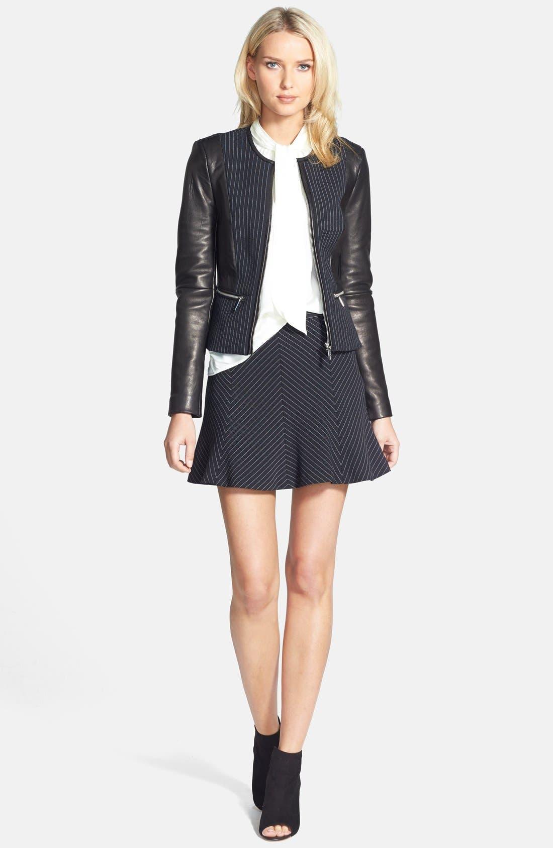 Alternate Image 6  - MICHAEL Michael Kors Pinstripe Flare Miniskirt