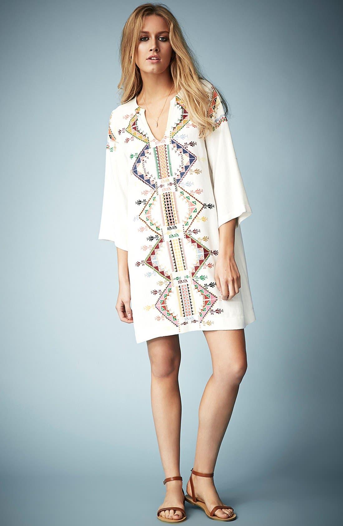 Alternate Image 5  - Kate Moss for Topshop Embroidered Smock Dress