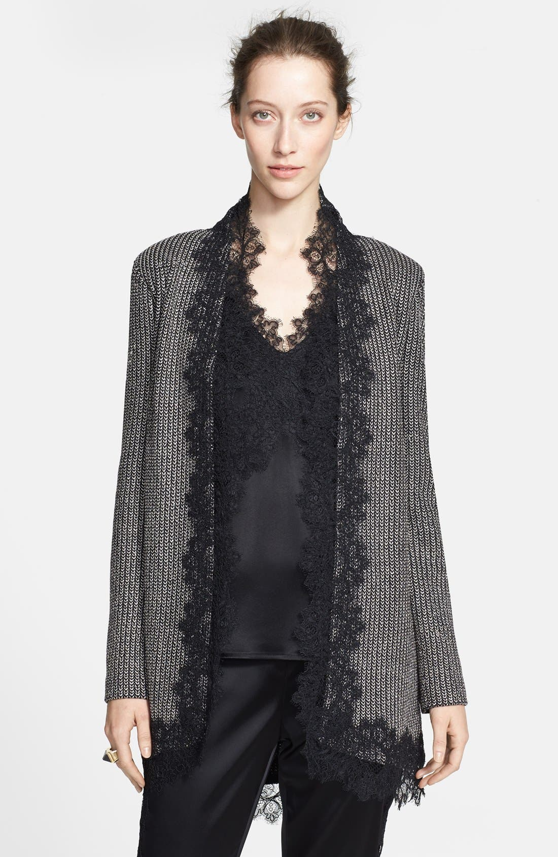 Main Image - St. John Collection Lace Trim Metallic Micro Knit Jacket