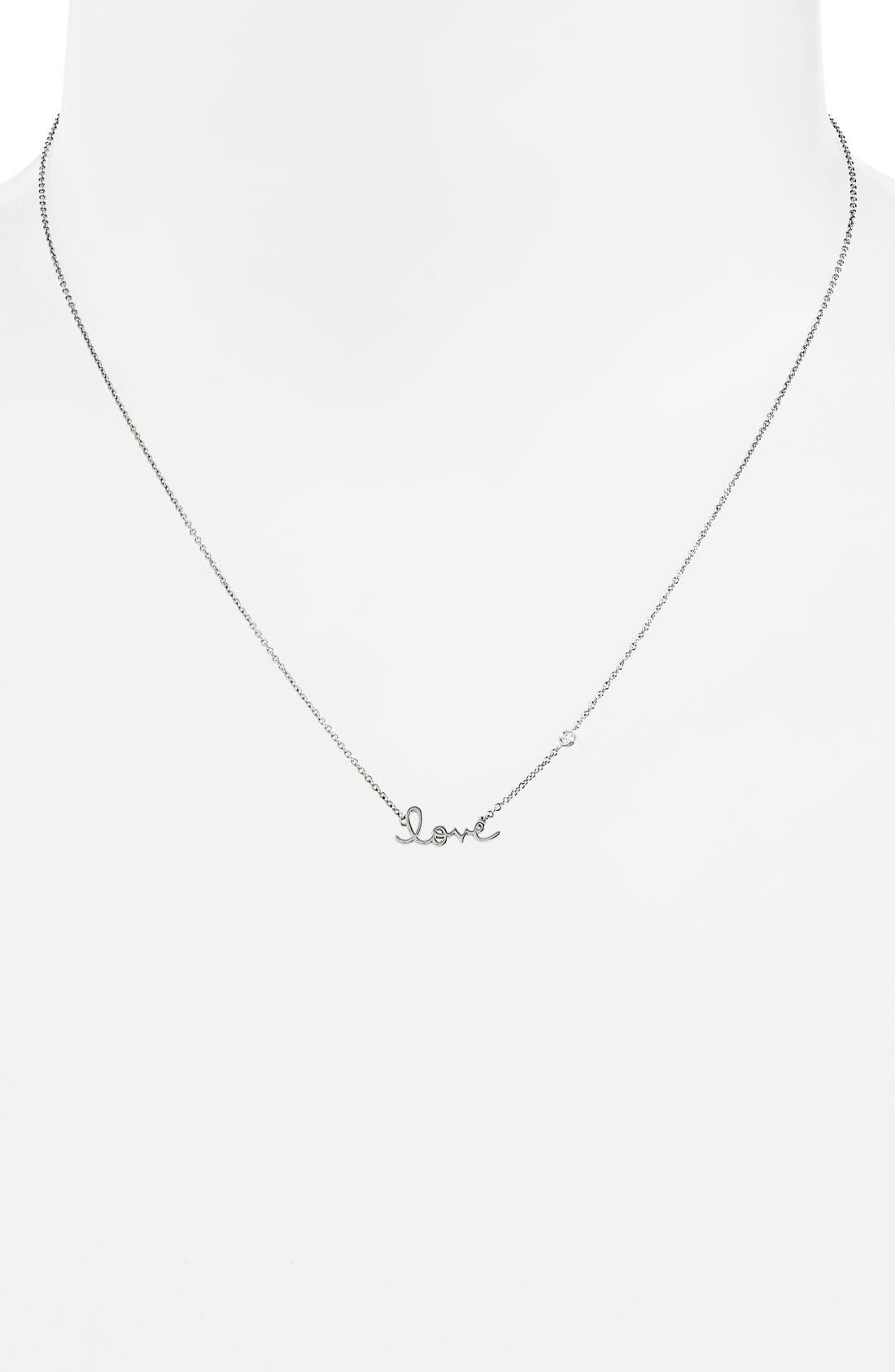 'Love' Necklace,                             Alternate thumbnail 2, color,                             Silver