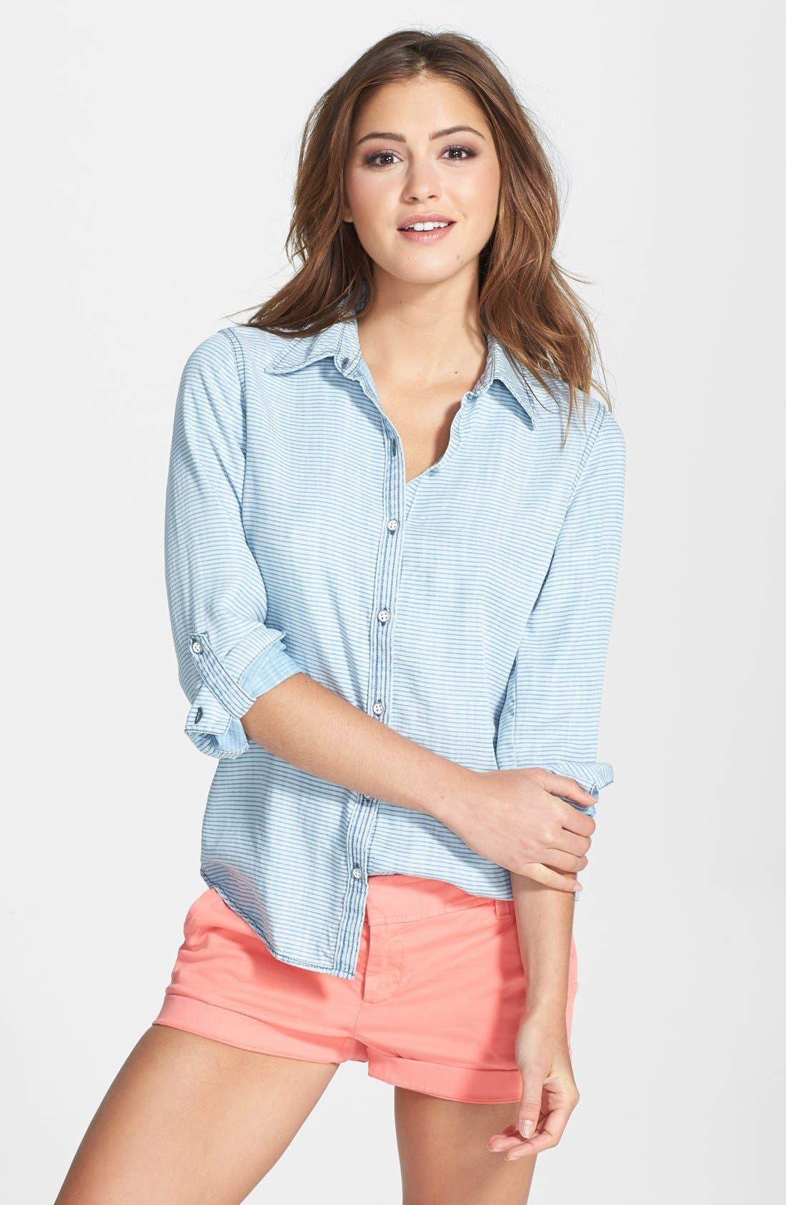 Alternate Image 1 Selected - Foxcroft Modern Fit Stripe Chambray Shirt (Regular & Petite)