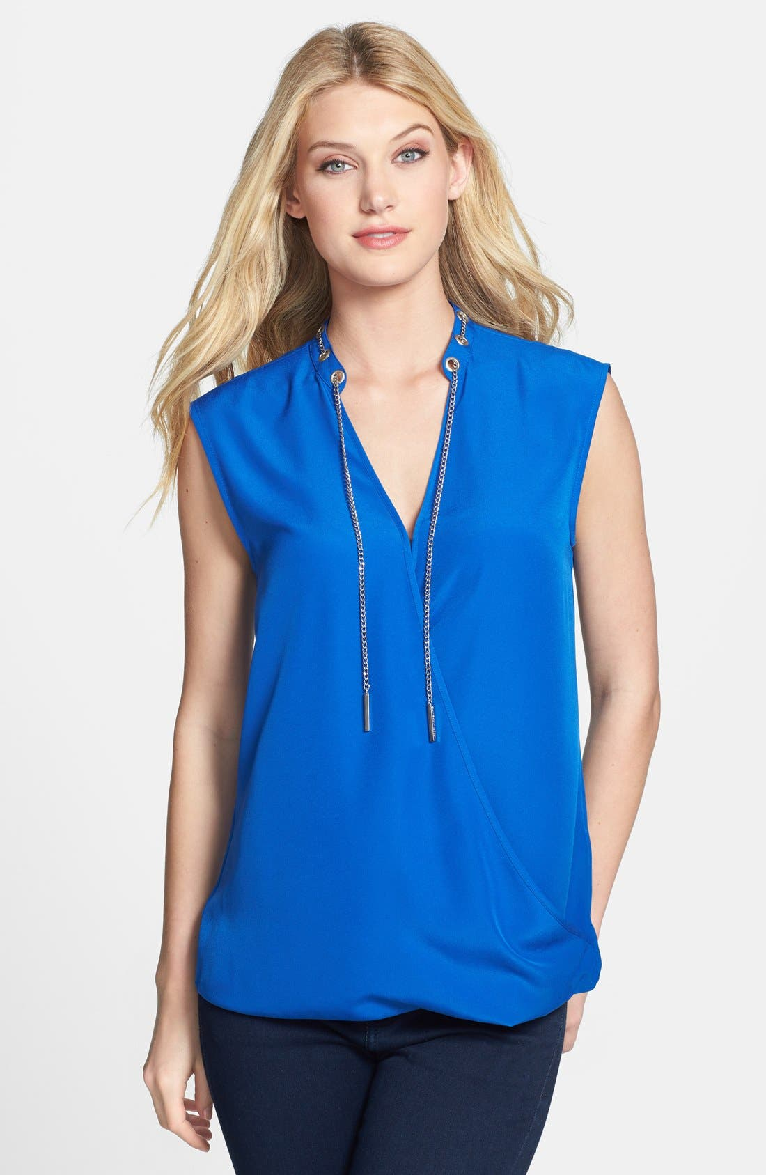 Main Image - MICHAEL Michael Kors Chain Neck Faux Wrap Front Blouse