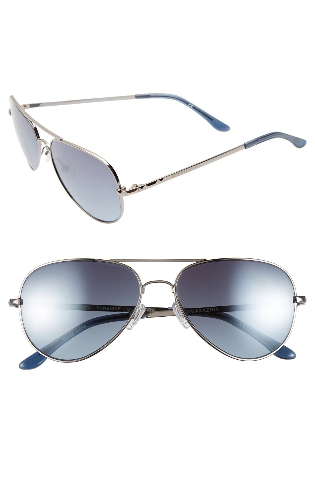'Sunshine' 55mm Aviator Sunglasses,                         Main,                         color, Gunmetal
