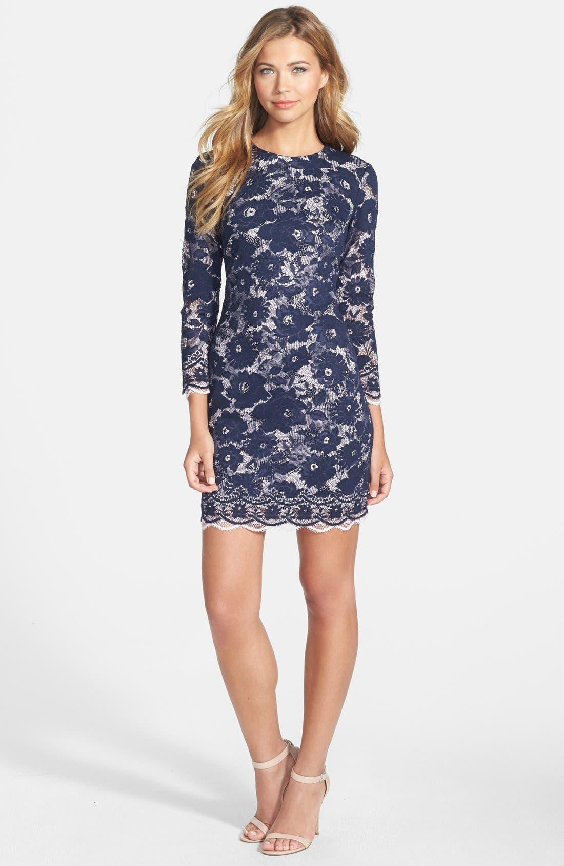 Alternate Image 1 Selected - Maia Double Layer Lace Sheath Dress