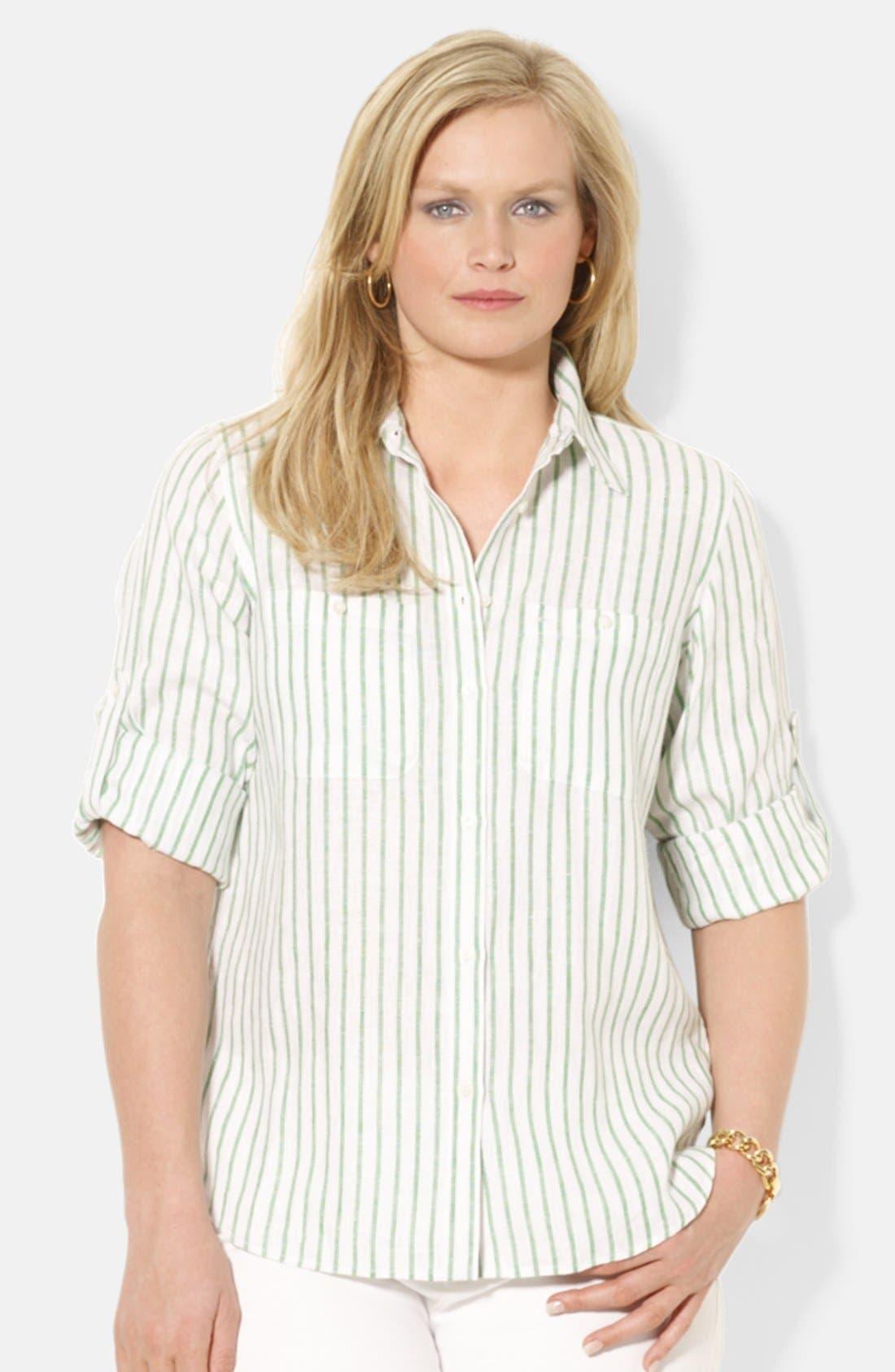 Alternate Image 1 Selected - Lauren Ralph Lauren Stripe Linen Work Shirt (Plus Size)