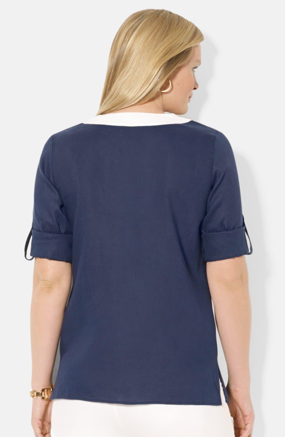 Alternate Image 2  - Lauren Ralph Lauren Contrast Split Neck Linen Top (Plus Size)