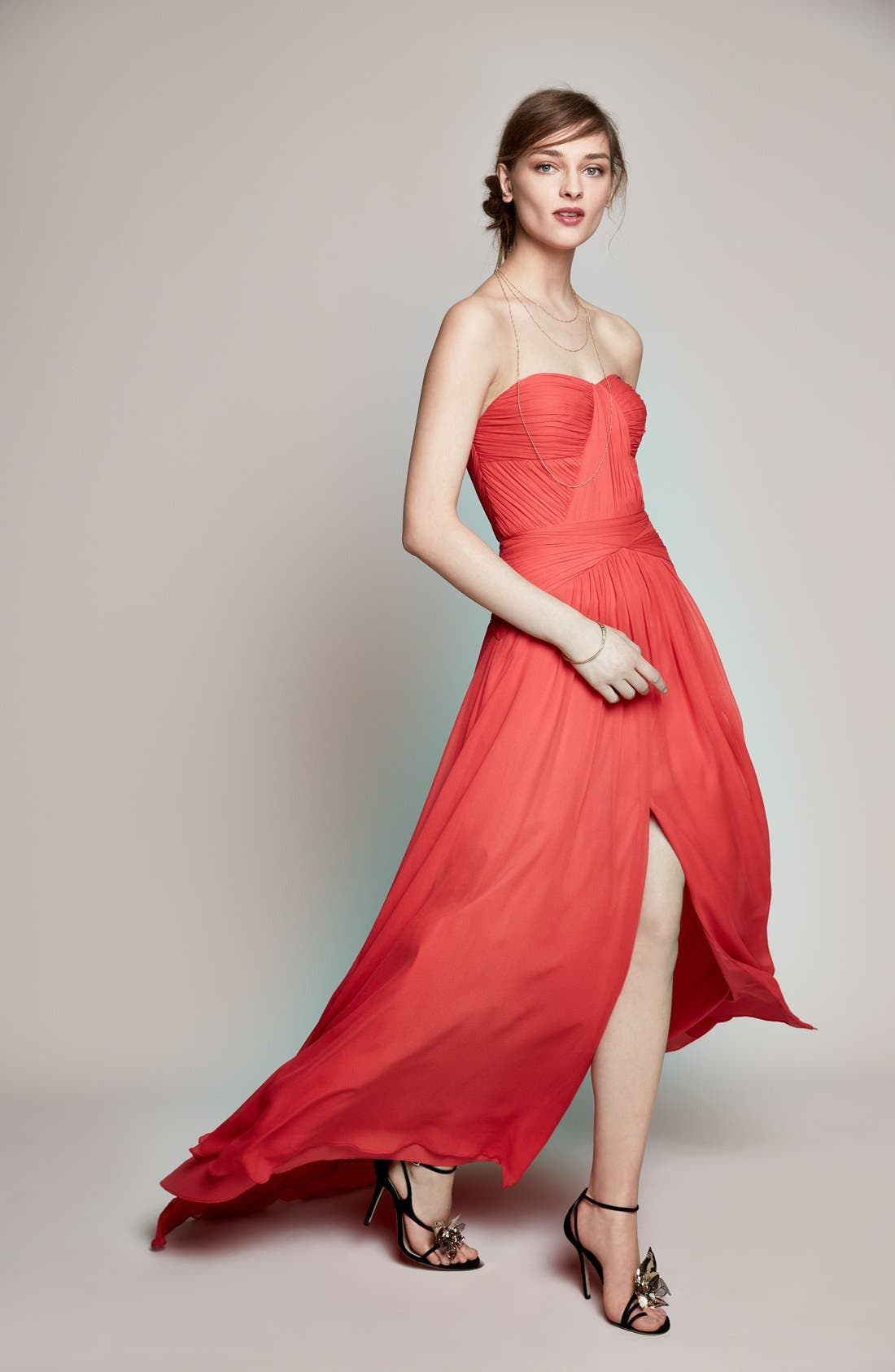 Strapless Chiffon Gown,                             Alternate thumbnail 4, color,