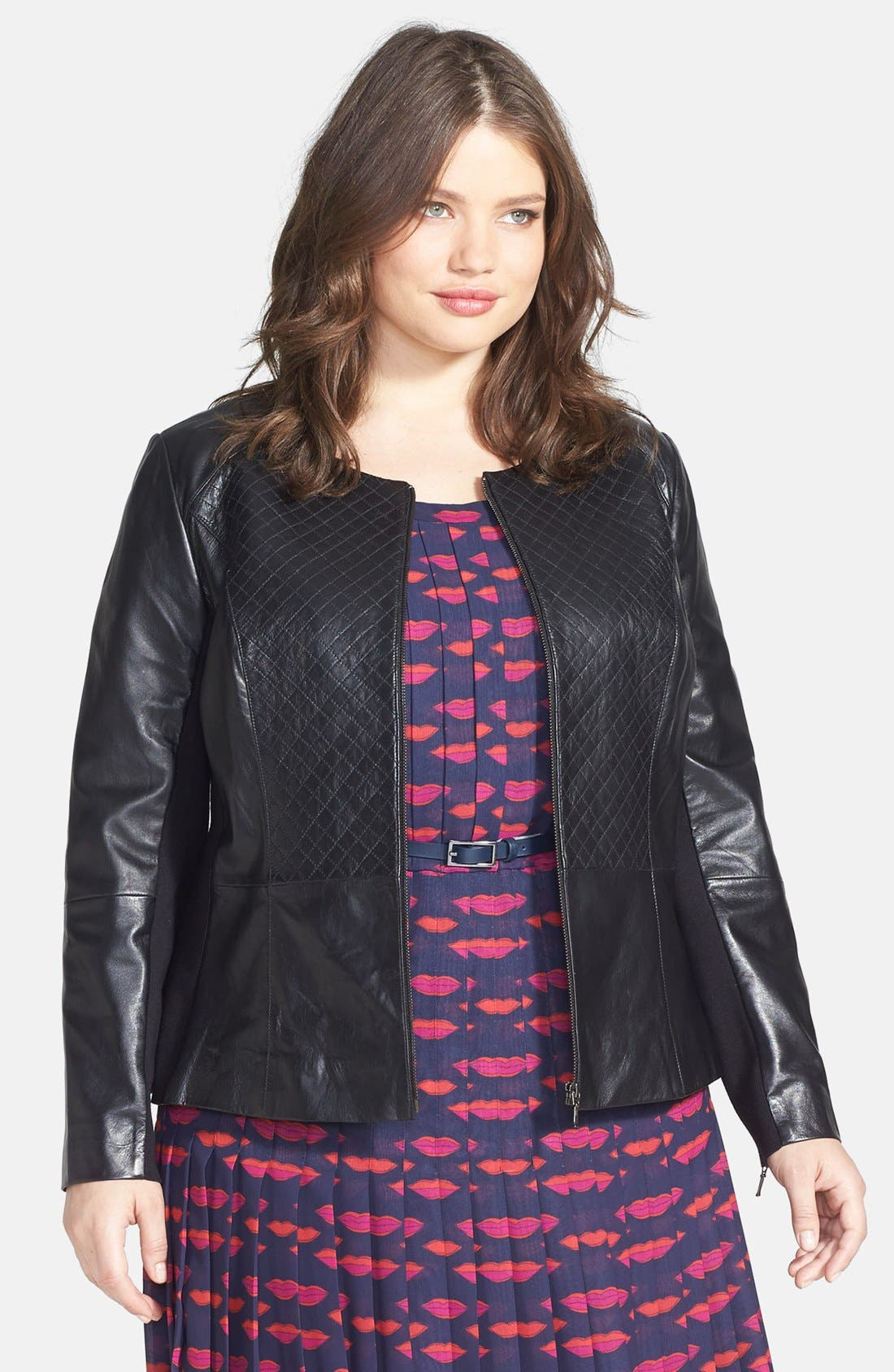 Main Image - Sejour Quilted Leather Peplum Jacket (Plus Size)