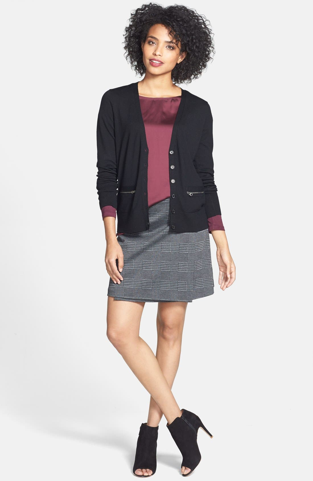 Alternate Image 6  - Vince Camuto Glen Plaid Faux Wrap Miniskirt
