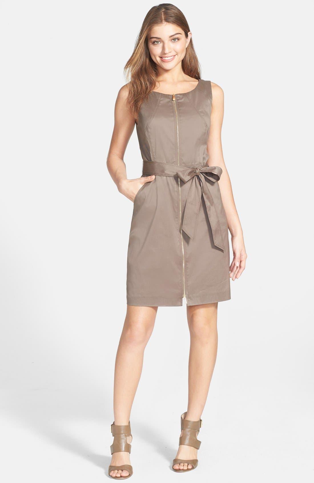 Alternate Image 3  - Vince Camuto Zip Front Cotton Blend Sheath Dress