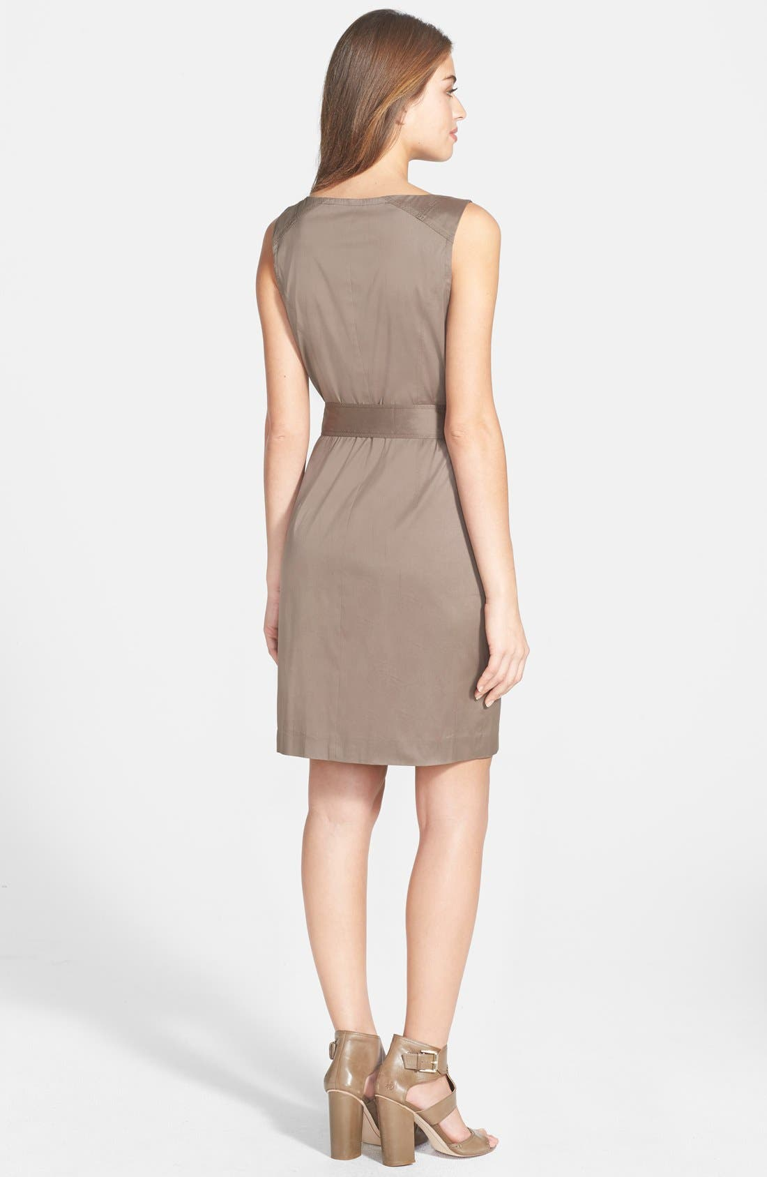 Alternate Image 2  - Vince Camuto Zip Front Cotton Blend Sheath Dress
