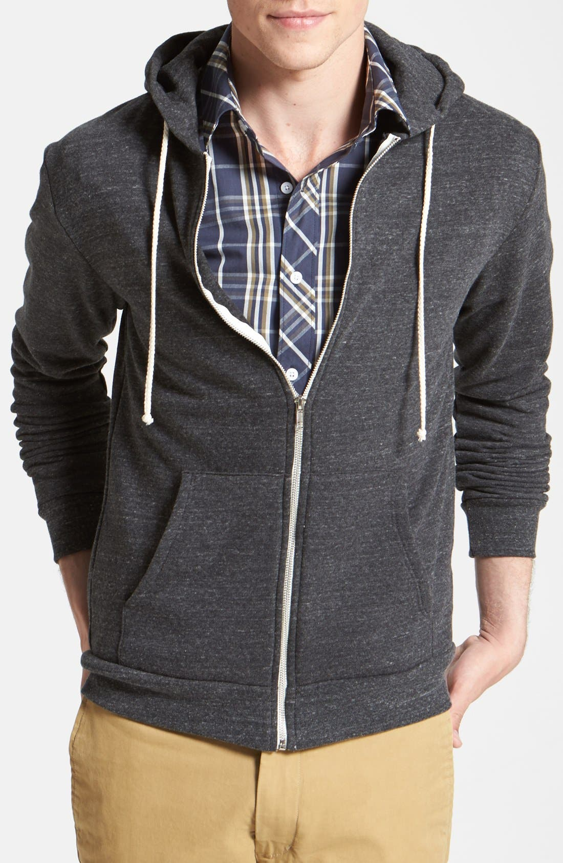 Threads for Thought Trim Fit Heathered Hoodie,                         Main,                         color, Heather Black
