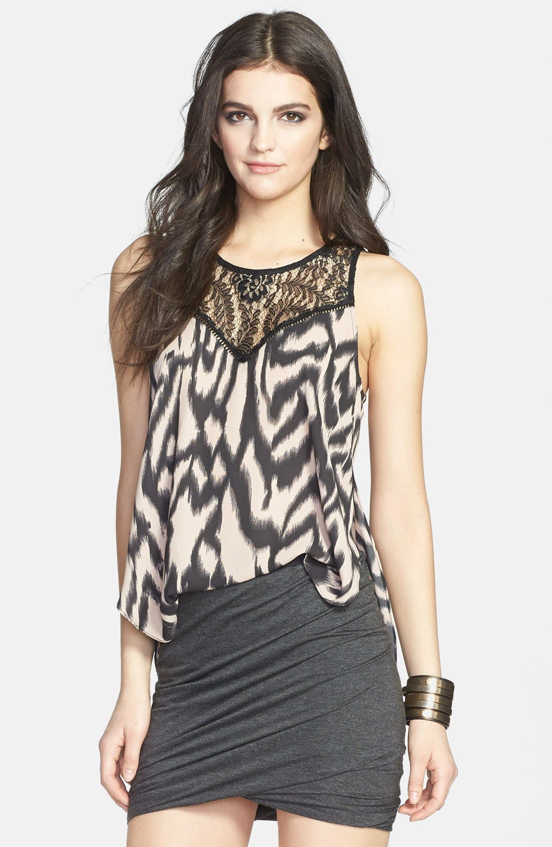 Alternate Image 1 Selected - ASTR Print Lace Mixed Media Tank