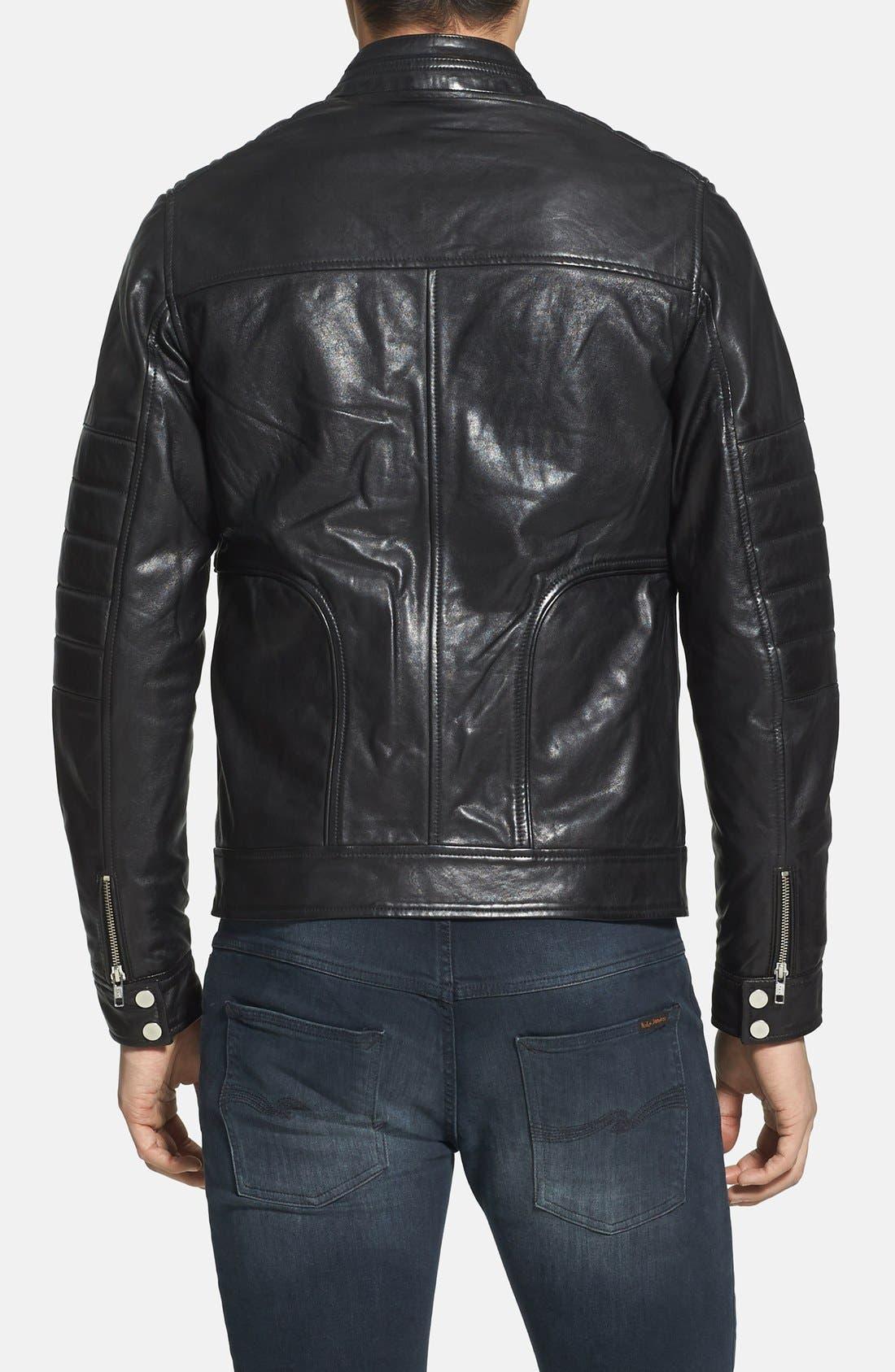 Alternate Image 2  - LAMARQUE Trim Fit Leather Biker Jacket (Online Only)