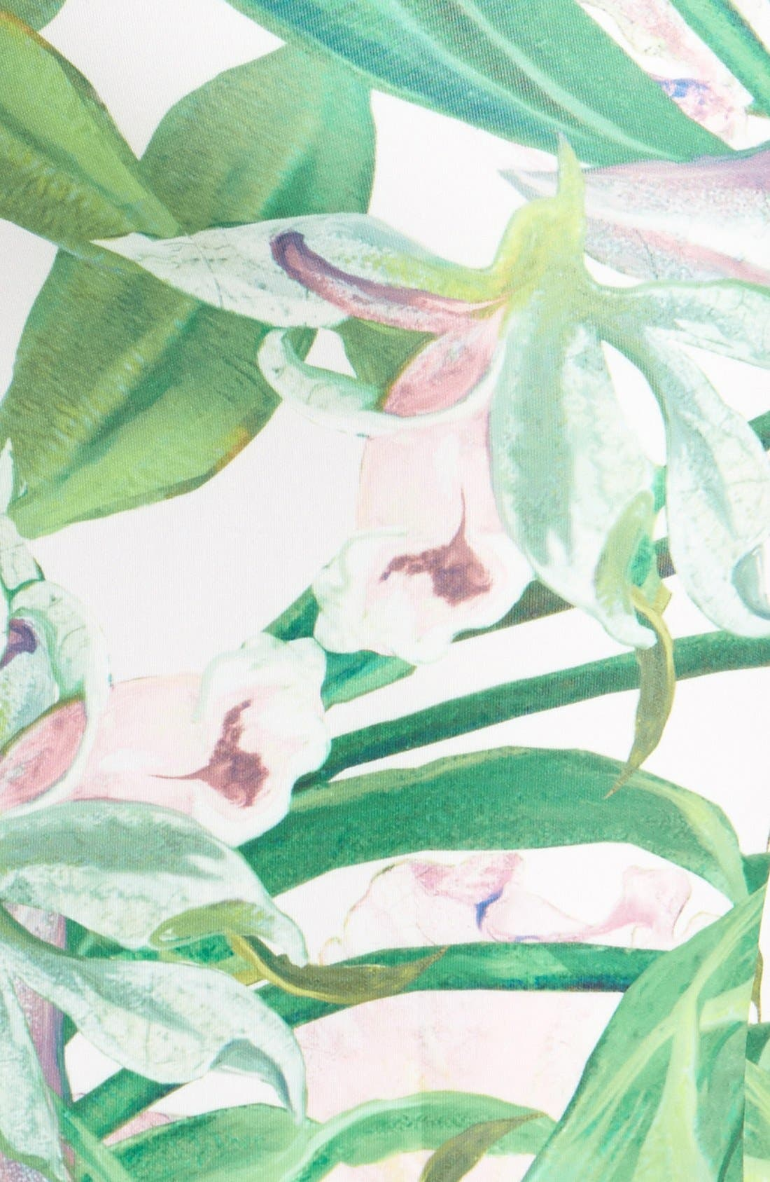 'Jungle Orchid' Print Dress,                             Alternate thumbnail 3, color,                             Shell