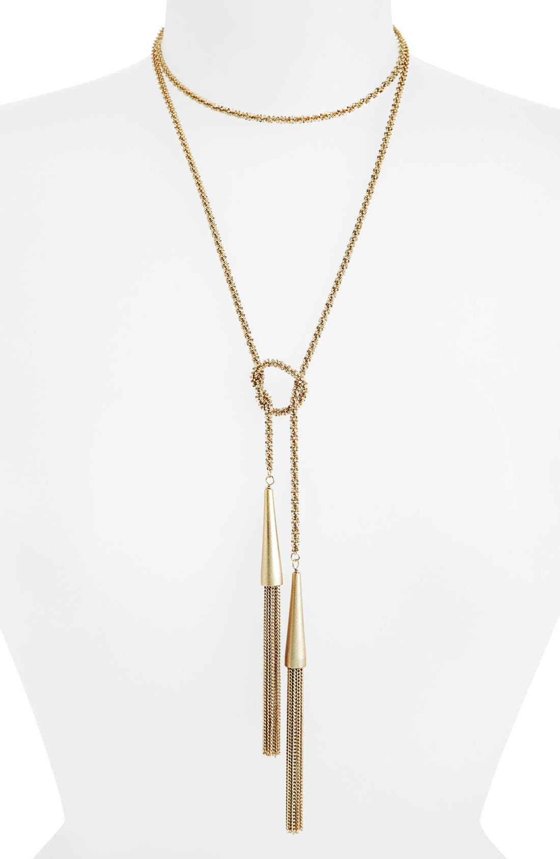 'Phara' Tassel Lariat Necklace,                             Alternate thumbnail 3, color,                             Gold