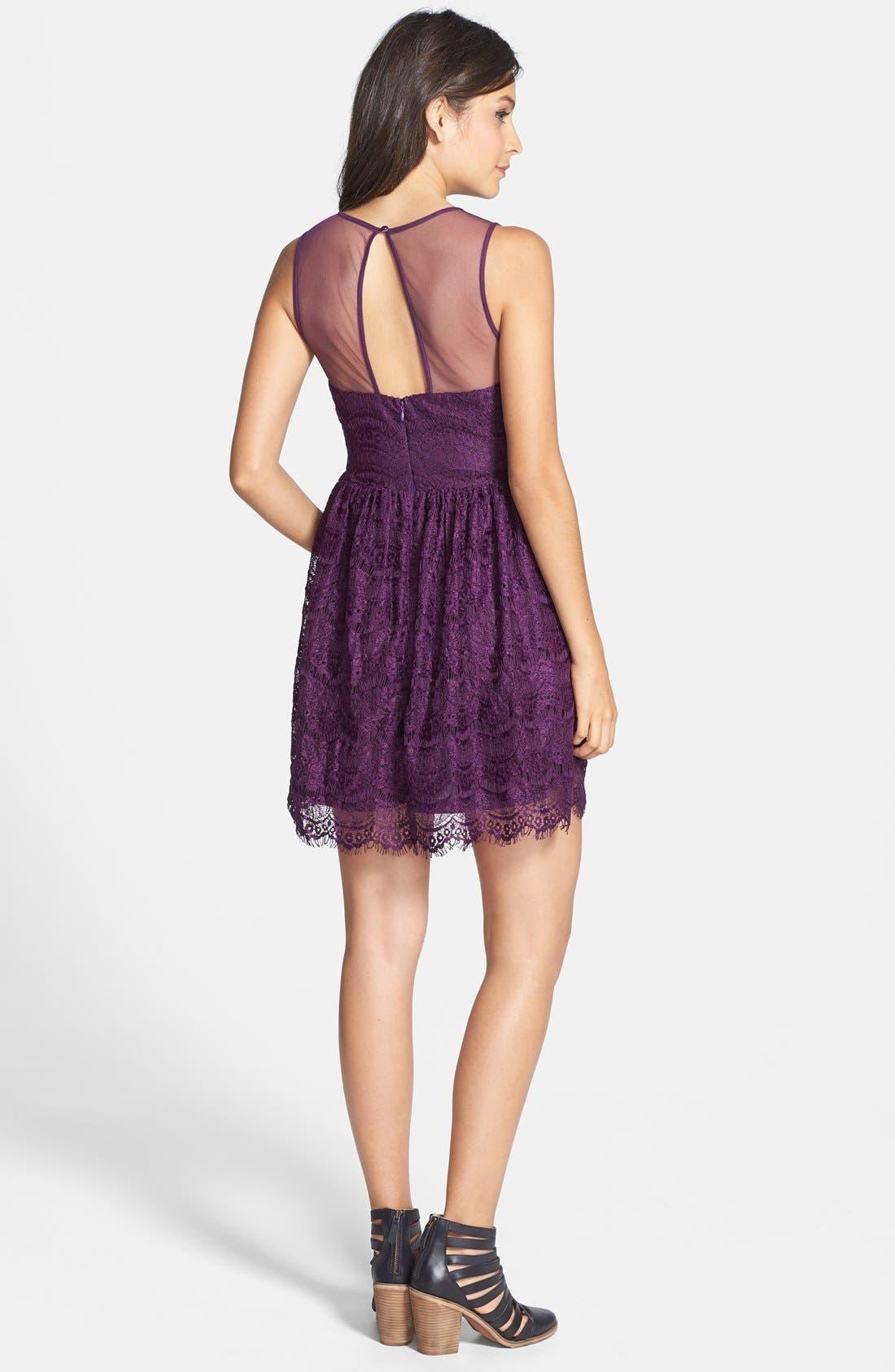 Alternate Image 2  - En Crème Eyelash Lace Skater Dress (Juniors) (Online Only)
